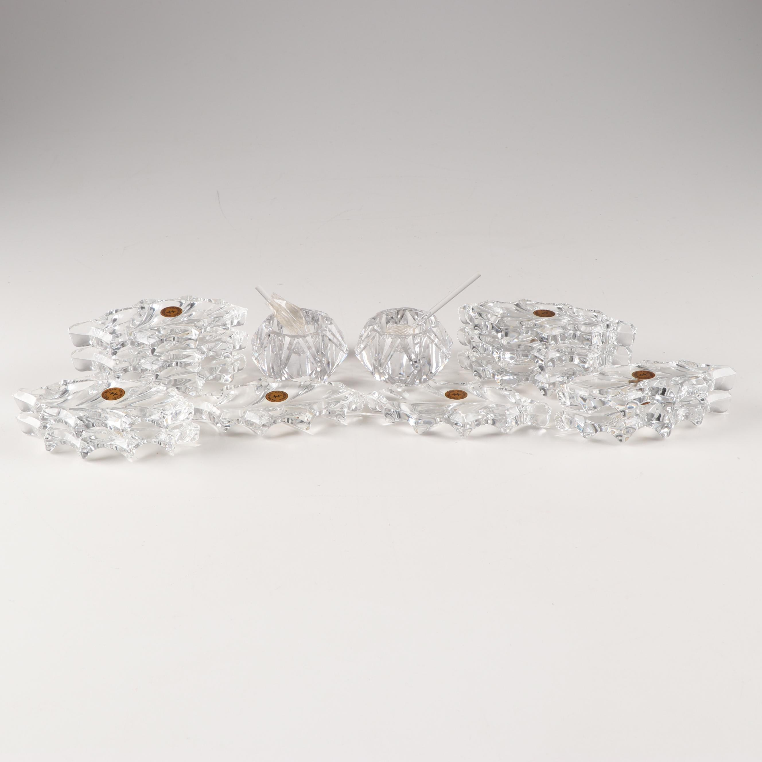 Cristallerie Lorraine Crystal Knife Rests and Salt Cellar Set