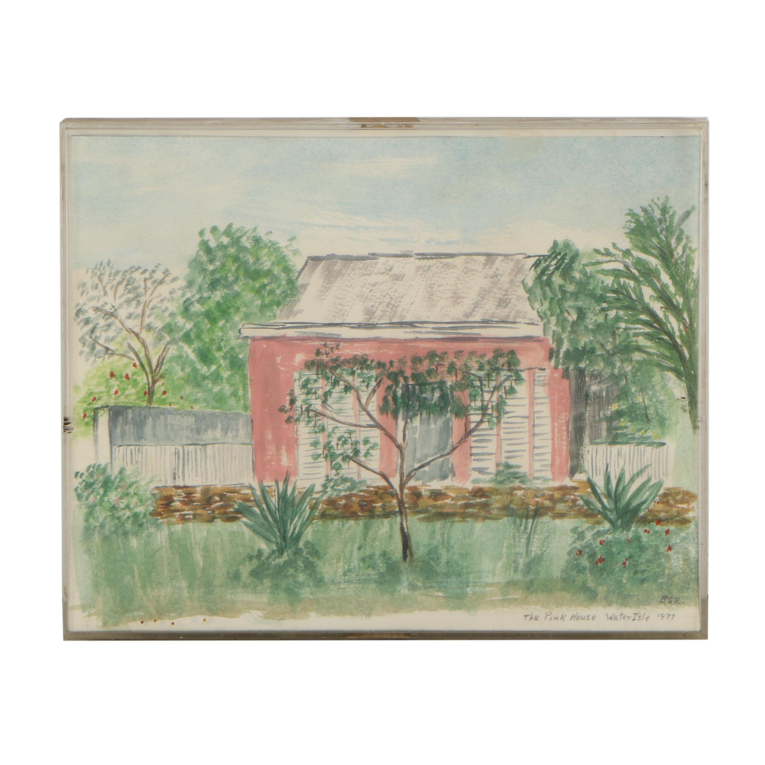 """1977 Watercolor Painting """"The Pink House"""""""