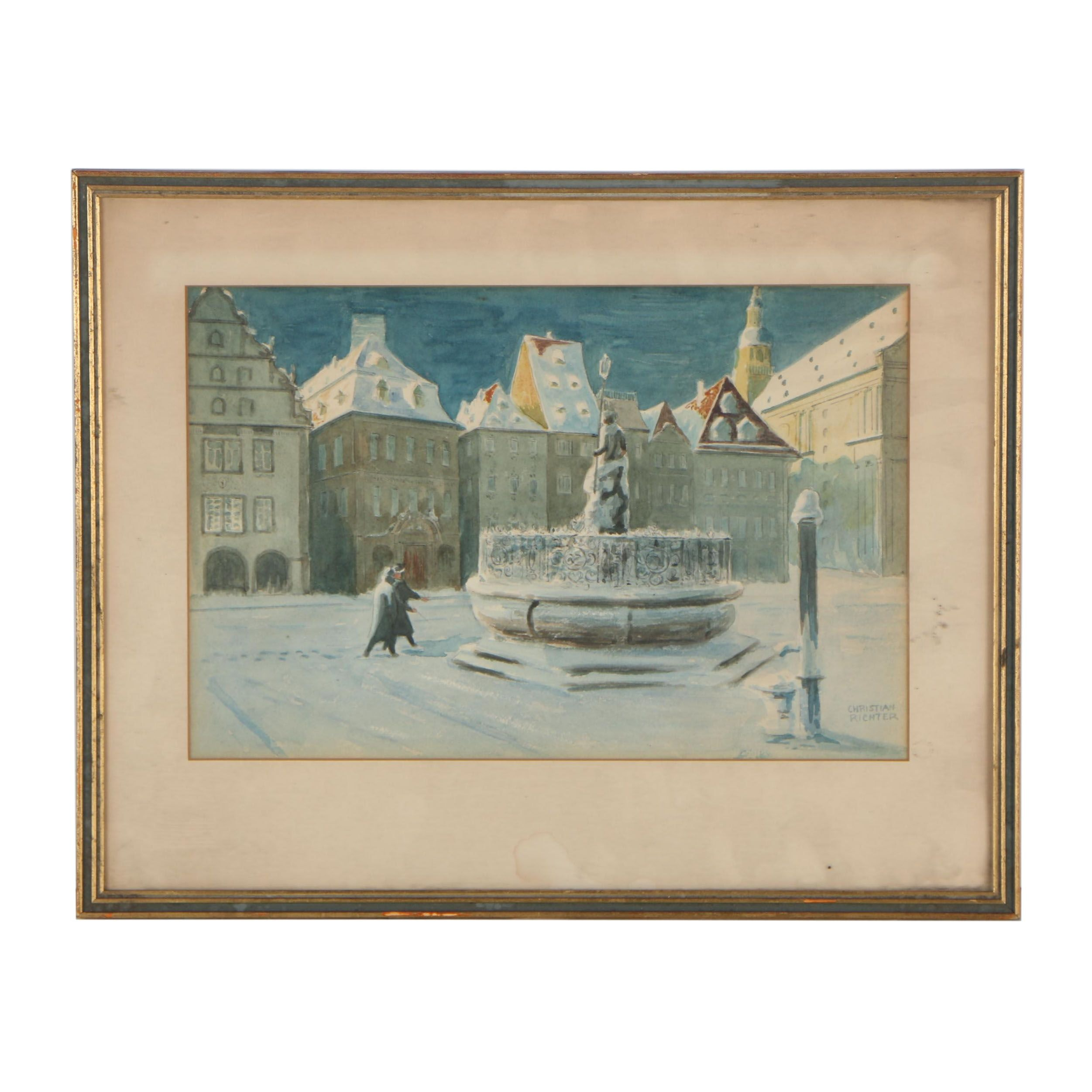 Christiane Richter Watercolor Painting of Nocturnal Square Scene