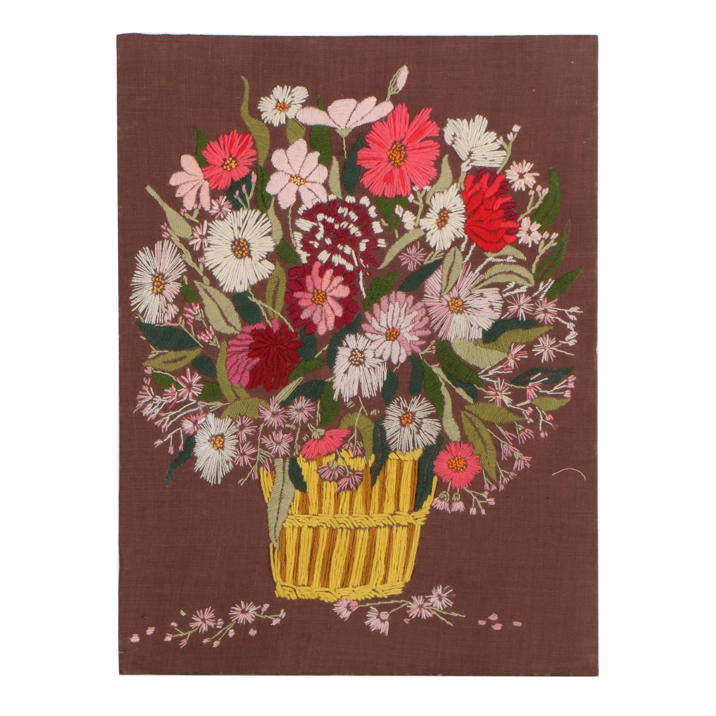 Late 20th Century Floral Embroidery Panel