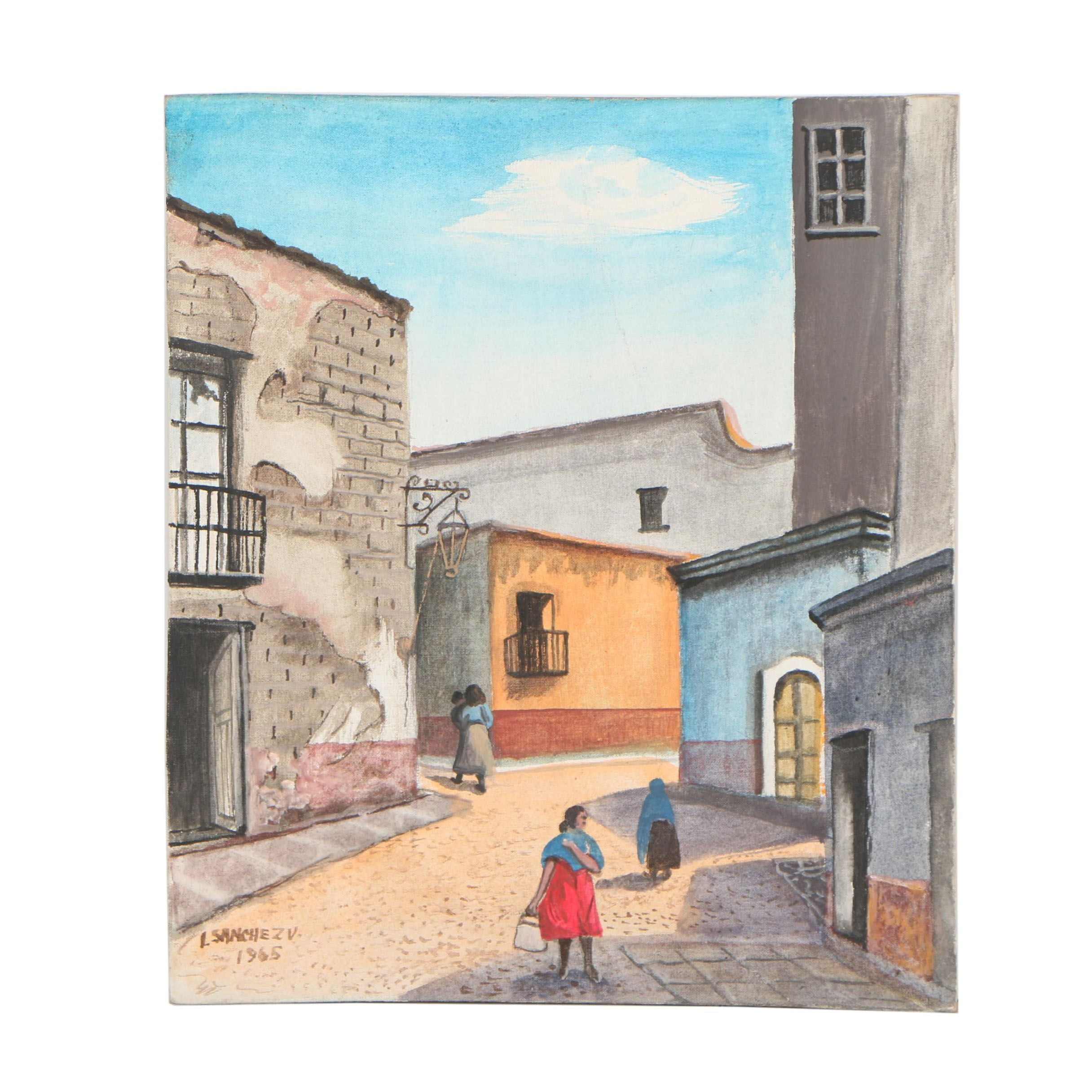 Late 20th Century Oil Painting of a City Street