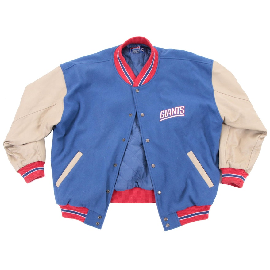 big sale a6cba ed86c New York Giants Jacket with Leather Sleeves