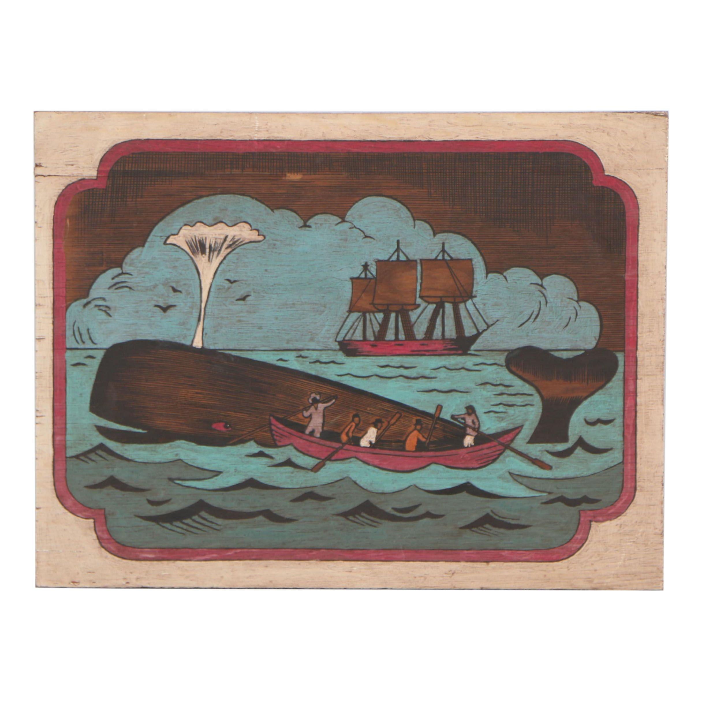 Late 20th Century Nautical Gouche Painting