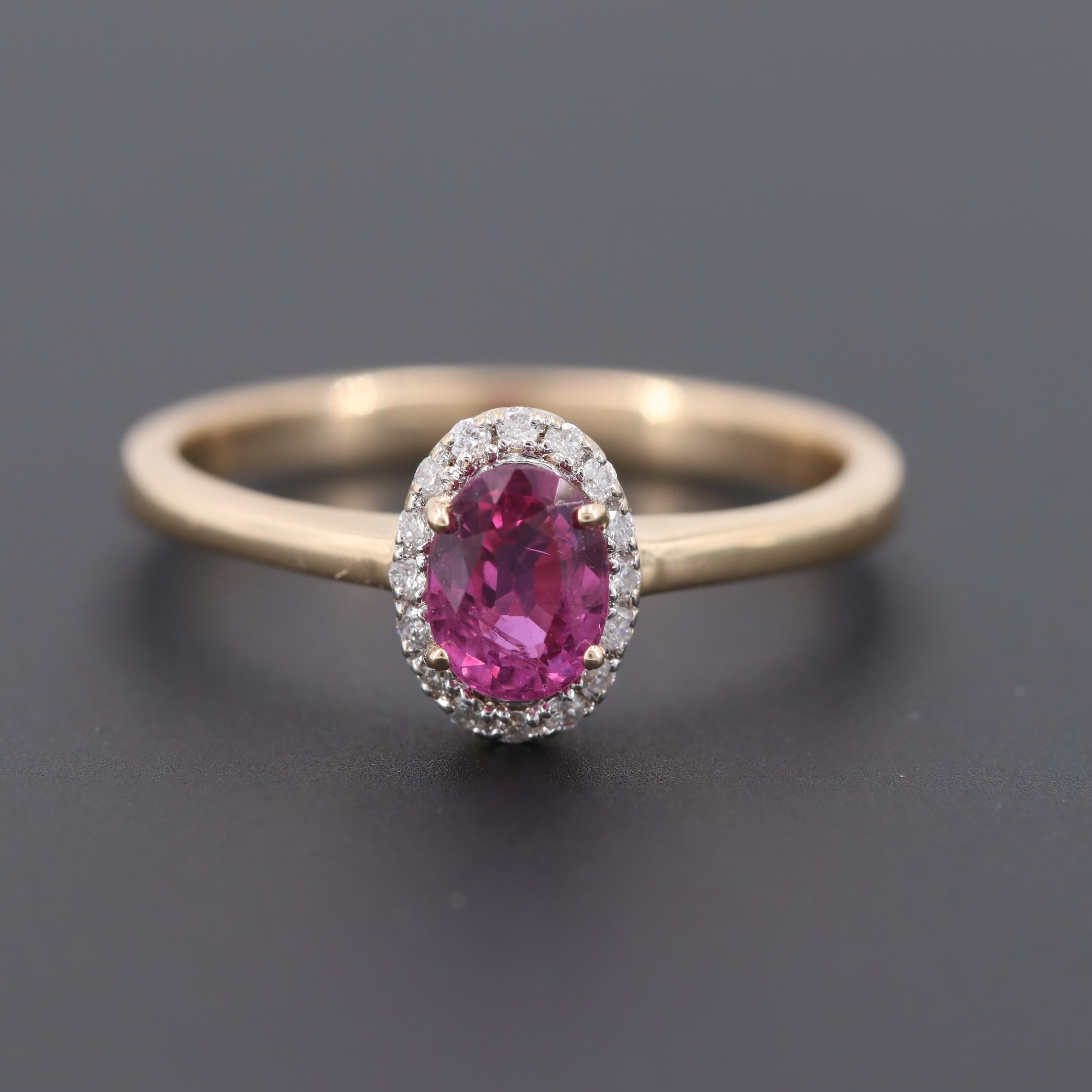14K Yellow Gold Pink Sapphire Ring with Diamond Halo