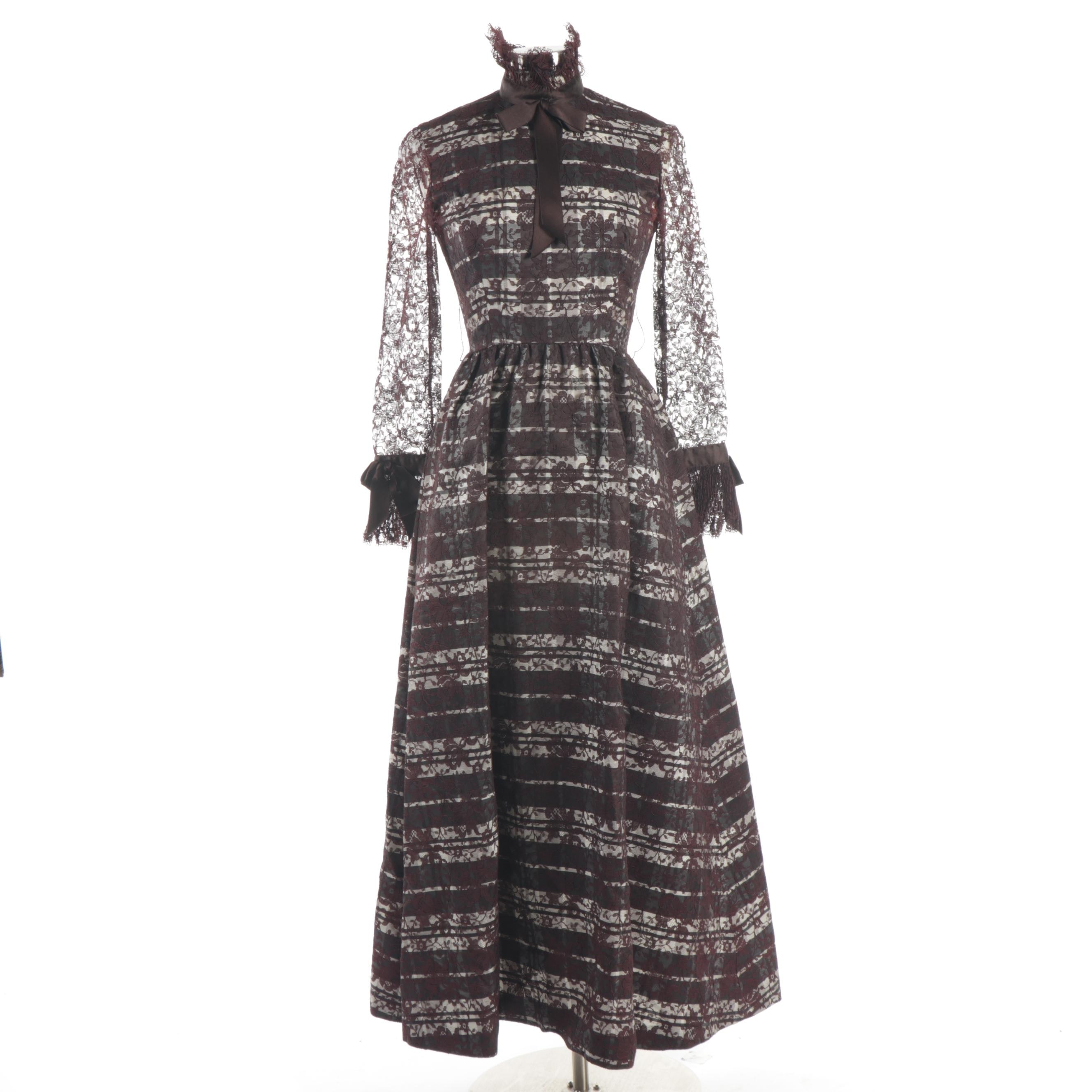 Geoffrey Beene Boutique Tartan and Lace Overlay High Neck Dress, 1970s Vintage