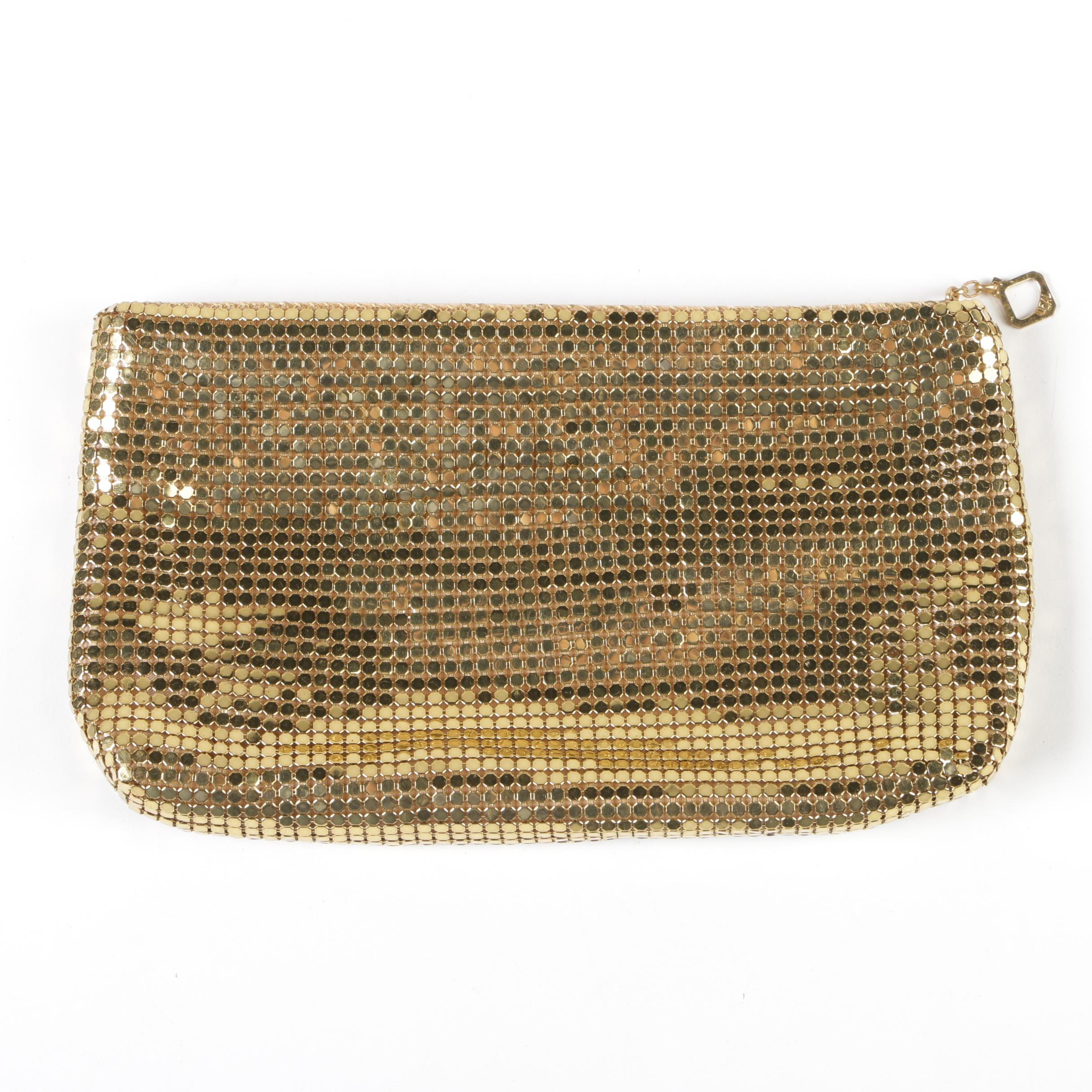 Duramesh Fifth Avenue Gold Mesh Clutch with IDEAL Zipper, Mid-20th Century