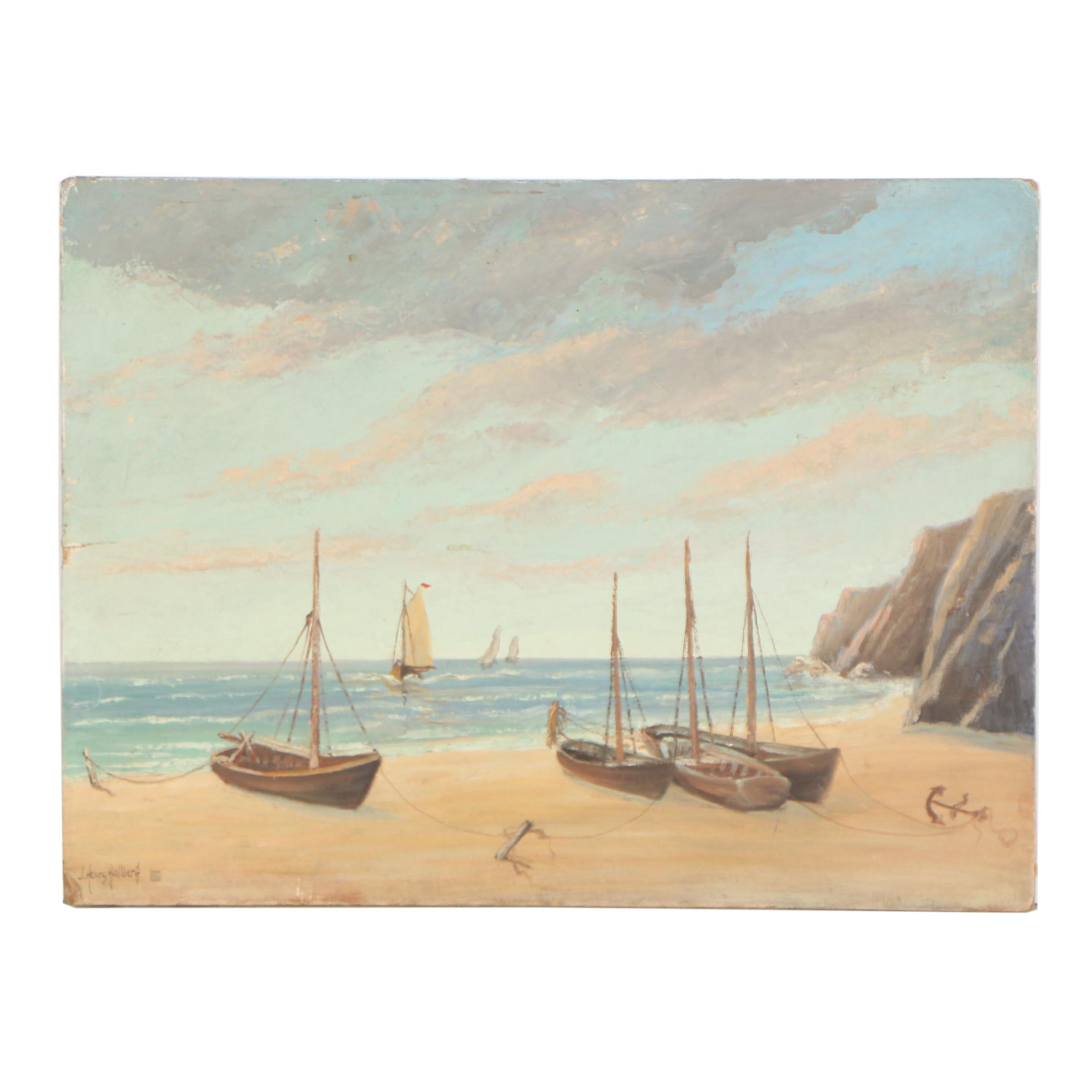 J. Henry Hallberg Nautical Oil Painting