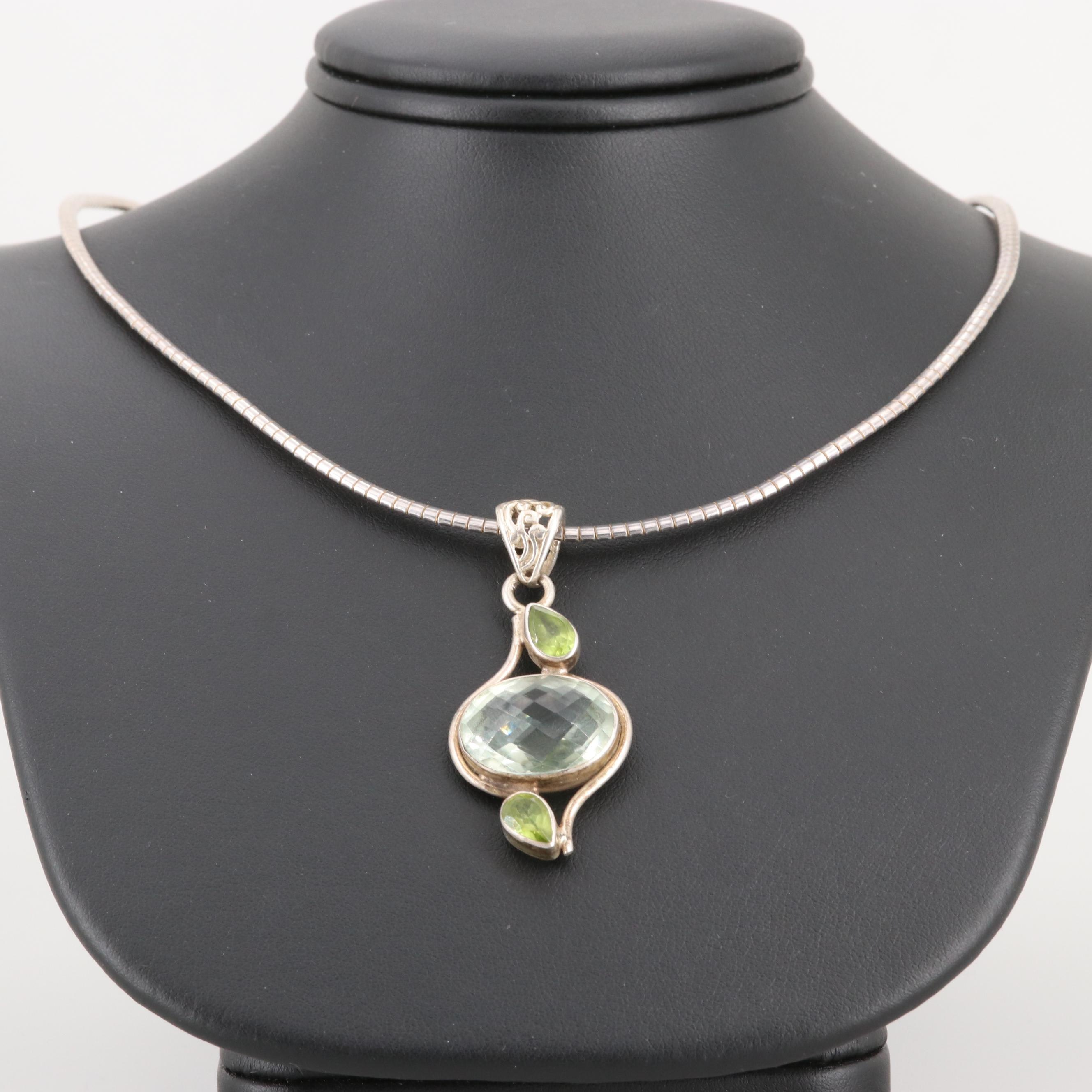 Sterling Silver Praseolite and Peridot Pendant Necklace