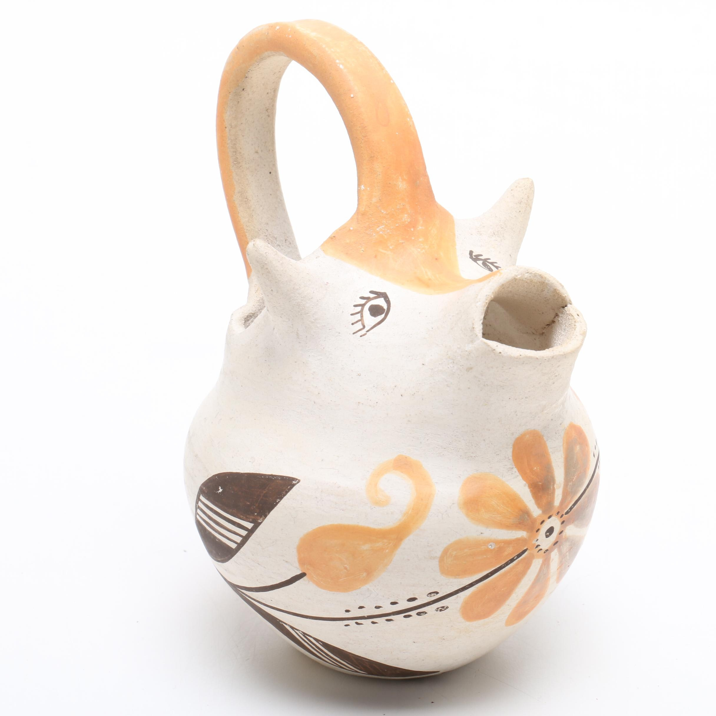 Hand-Painted Acoma Figural Earthenware Pitcher Vase