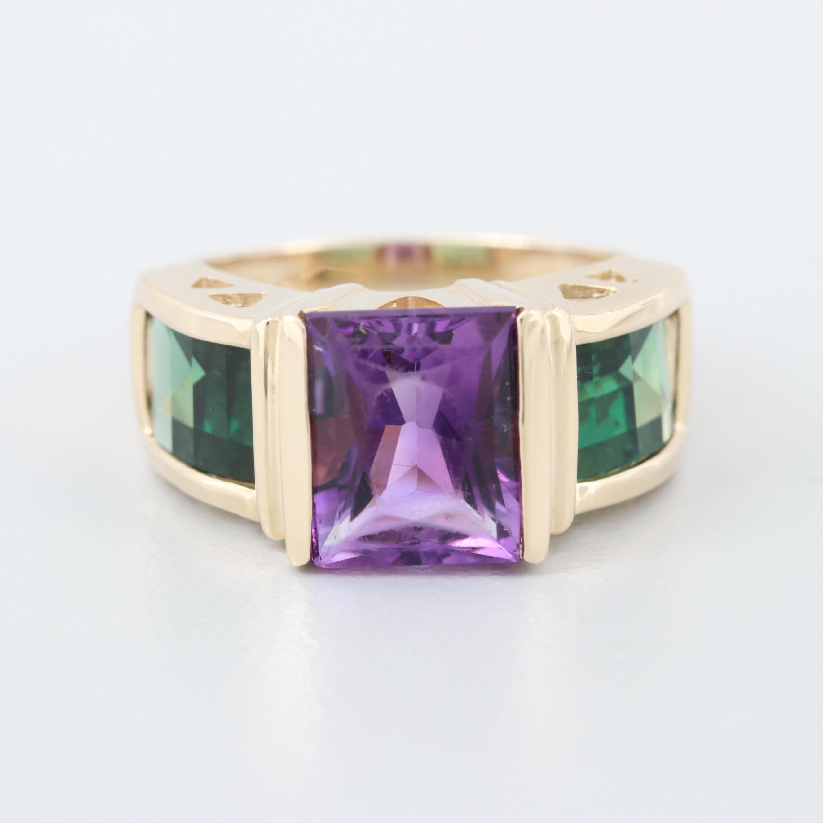 14K Yellow Gold Amethyst and Green Tourmaline Ring