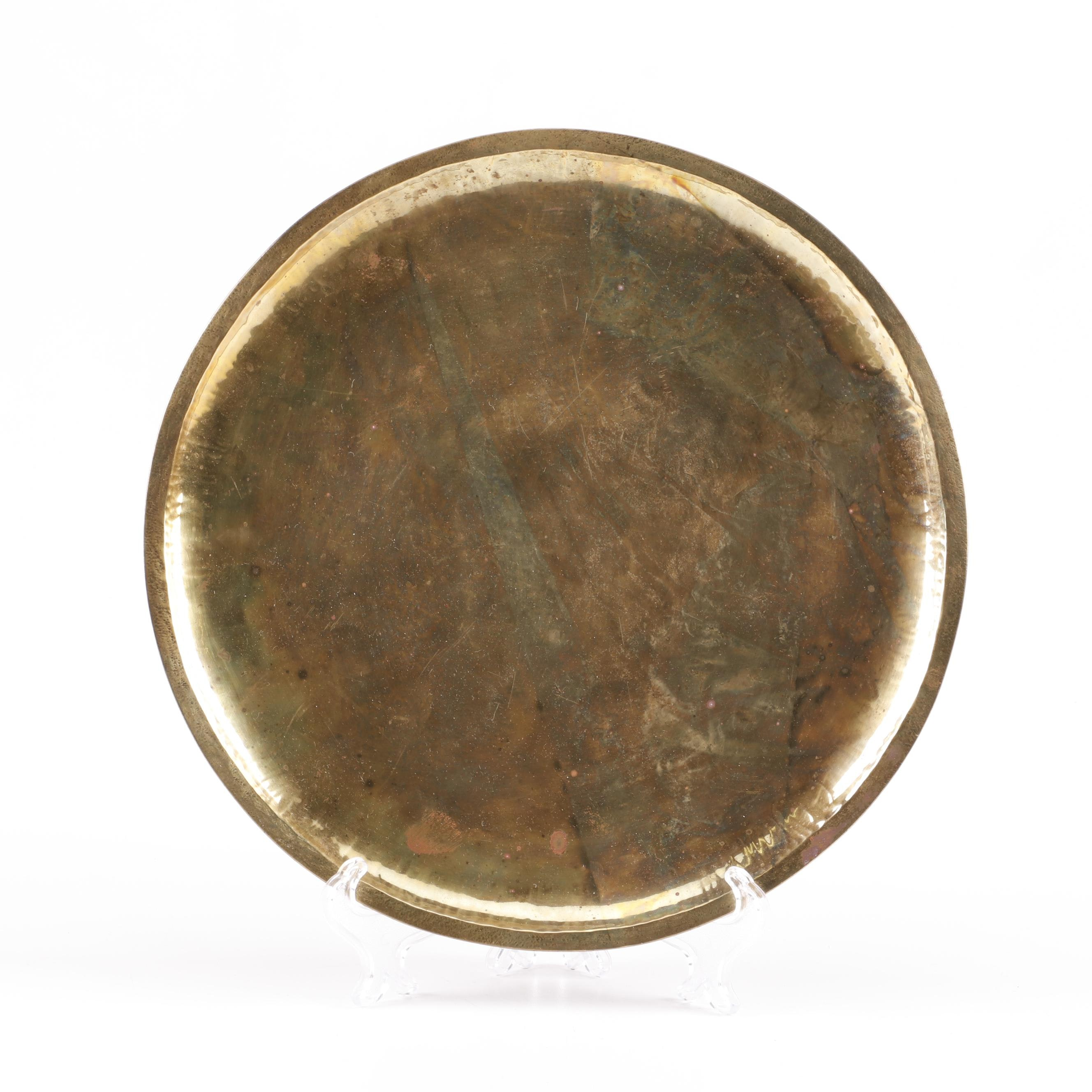 Planished Brass Tray, Early 20th Century