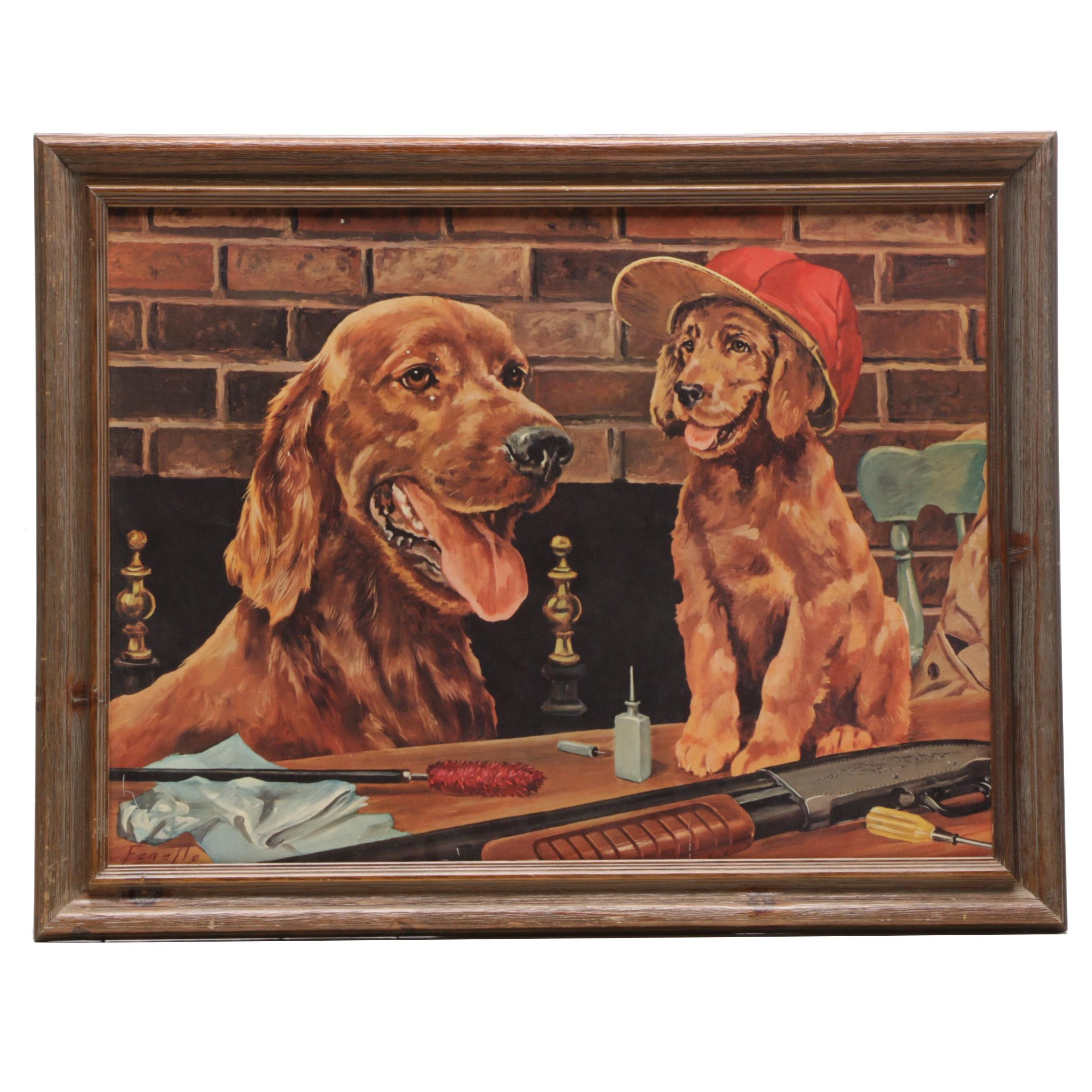 Offset Lithograph after Stanford Frenelle of Golden Retrievers with Hunting Gear