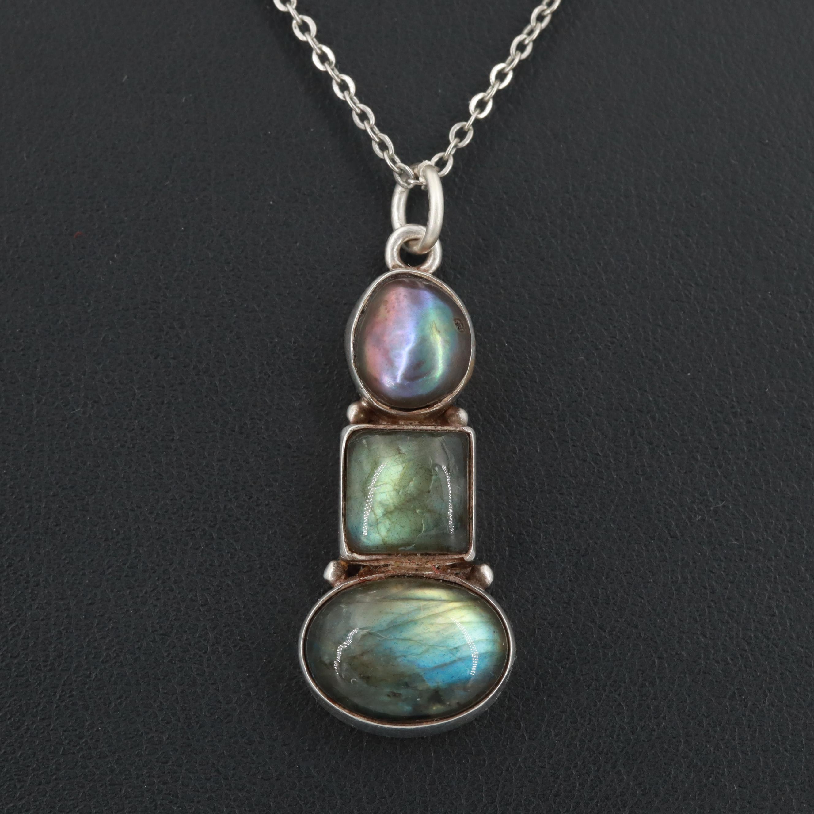 Sterling Silver Labradorite and Black Cultured Pearl Pendant Necklace