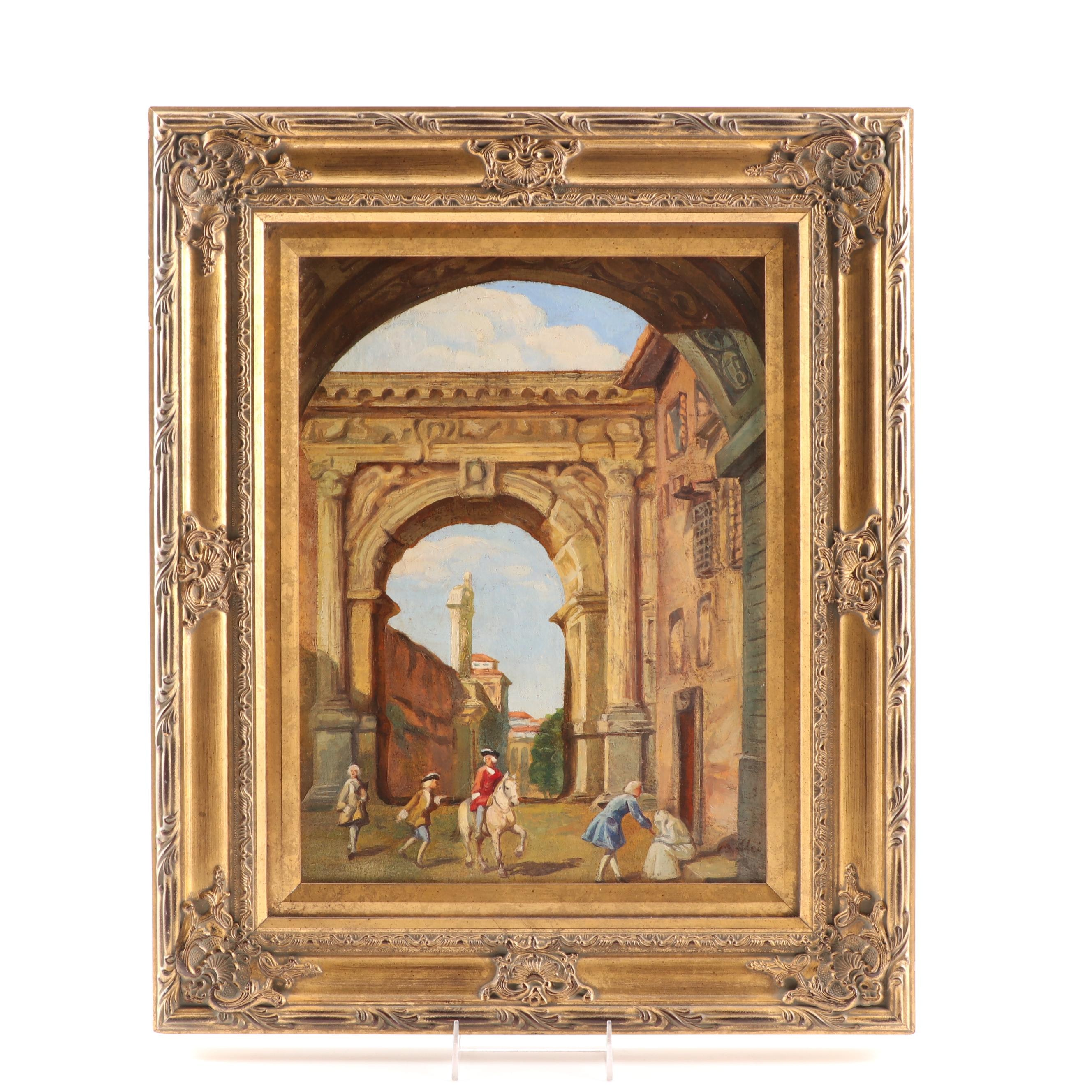 Architectural Scene Oil Painting