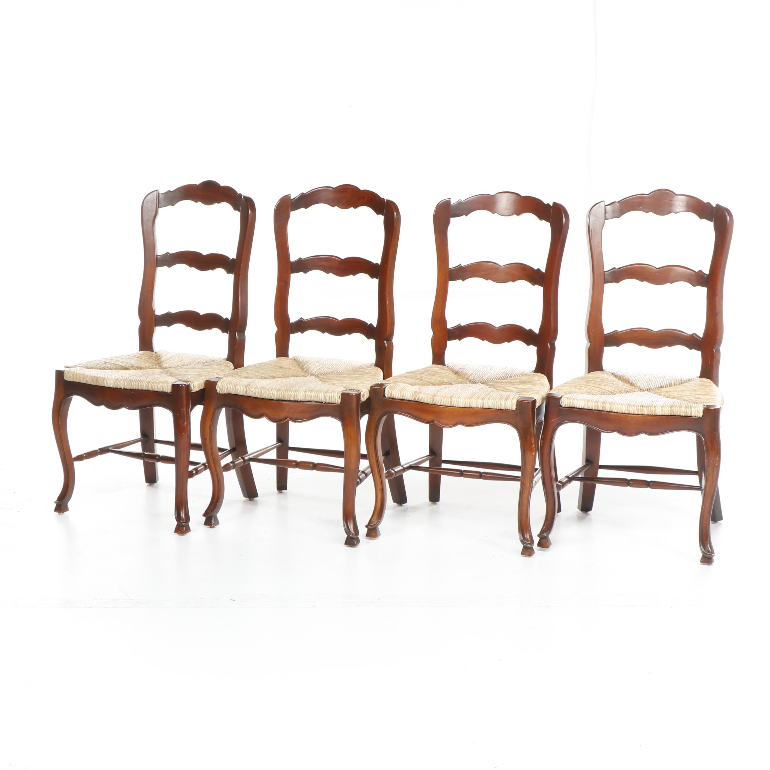 Contemporary Colonial Style Slat Back Chairs with Rush Seats