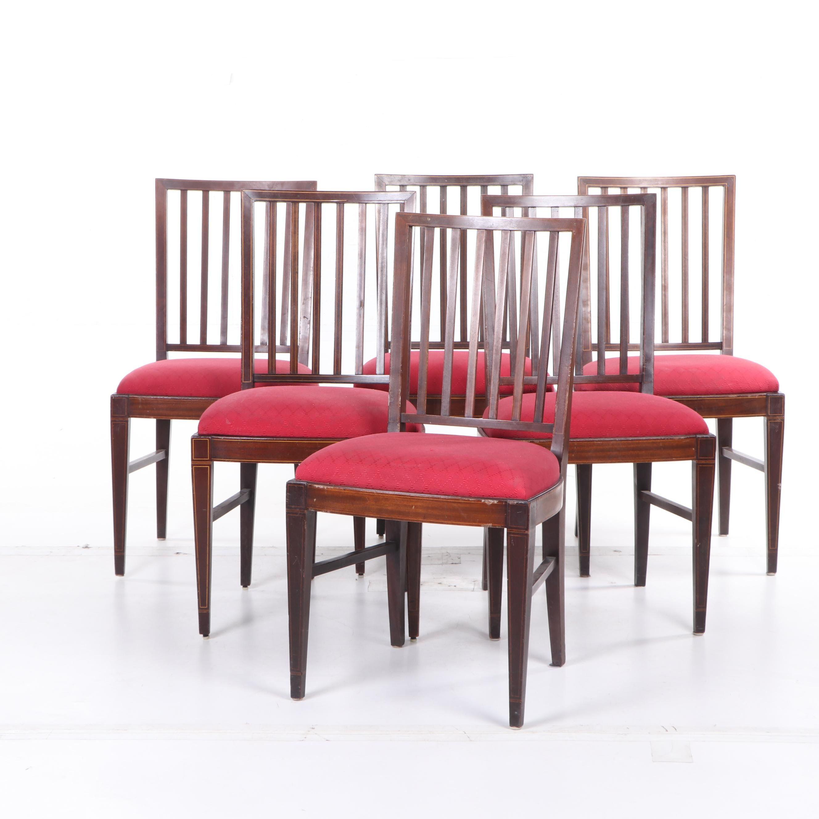 Federal Style Inlaid Mahogany Slat Back Dining Chairs, Mid 20th Century