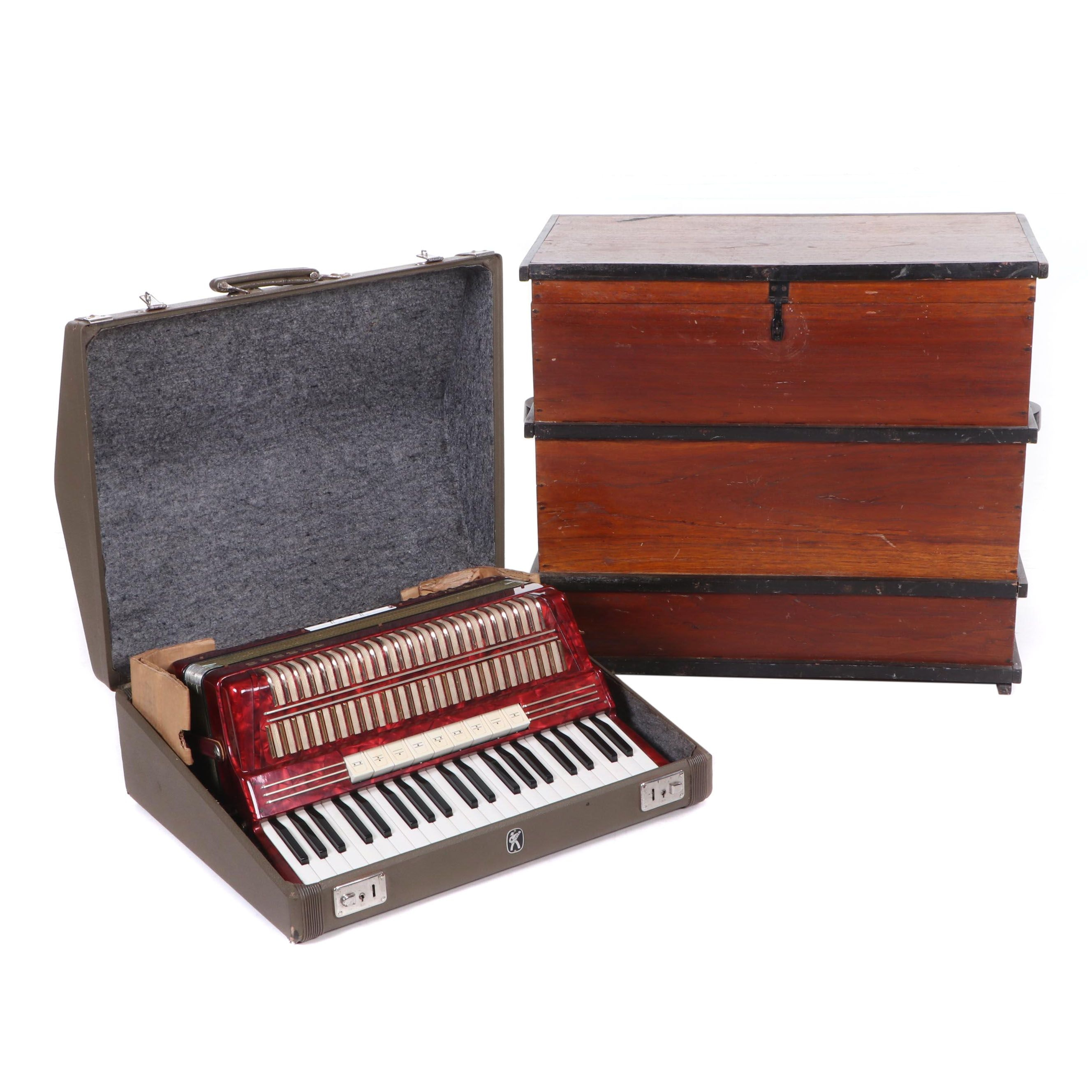 "Hohner ""Verdi III"" Bass Piano Accordion with Cedar Trunk, Vintage"