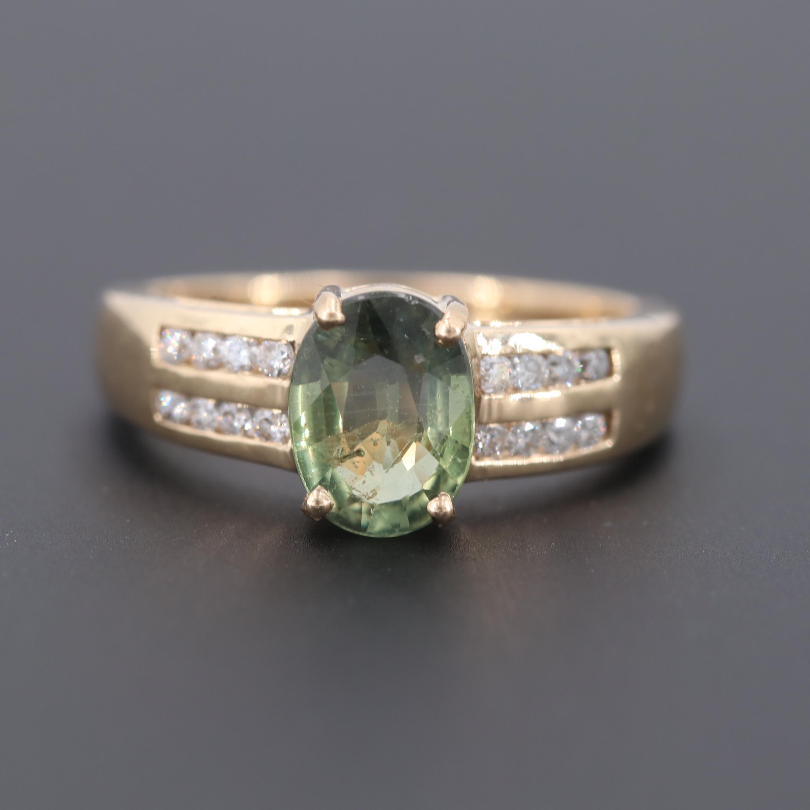 14K Yellow Gold 1.16 CT Green Sapphire and Diamond Ring