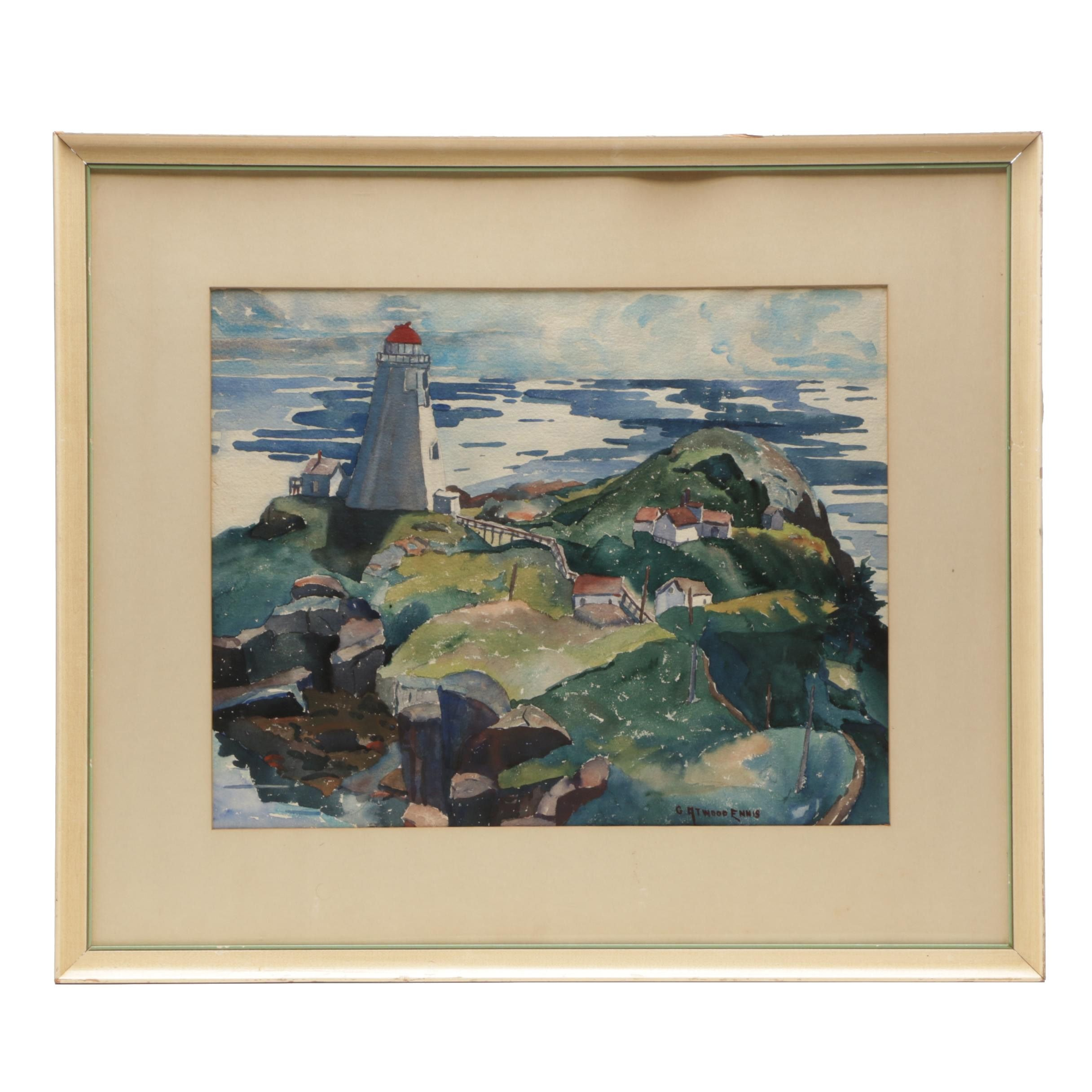 Gladys Atwood Ennis Watercolor Painting of an Atlantic Coast