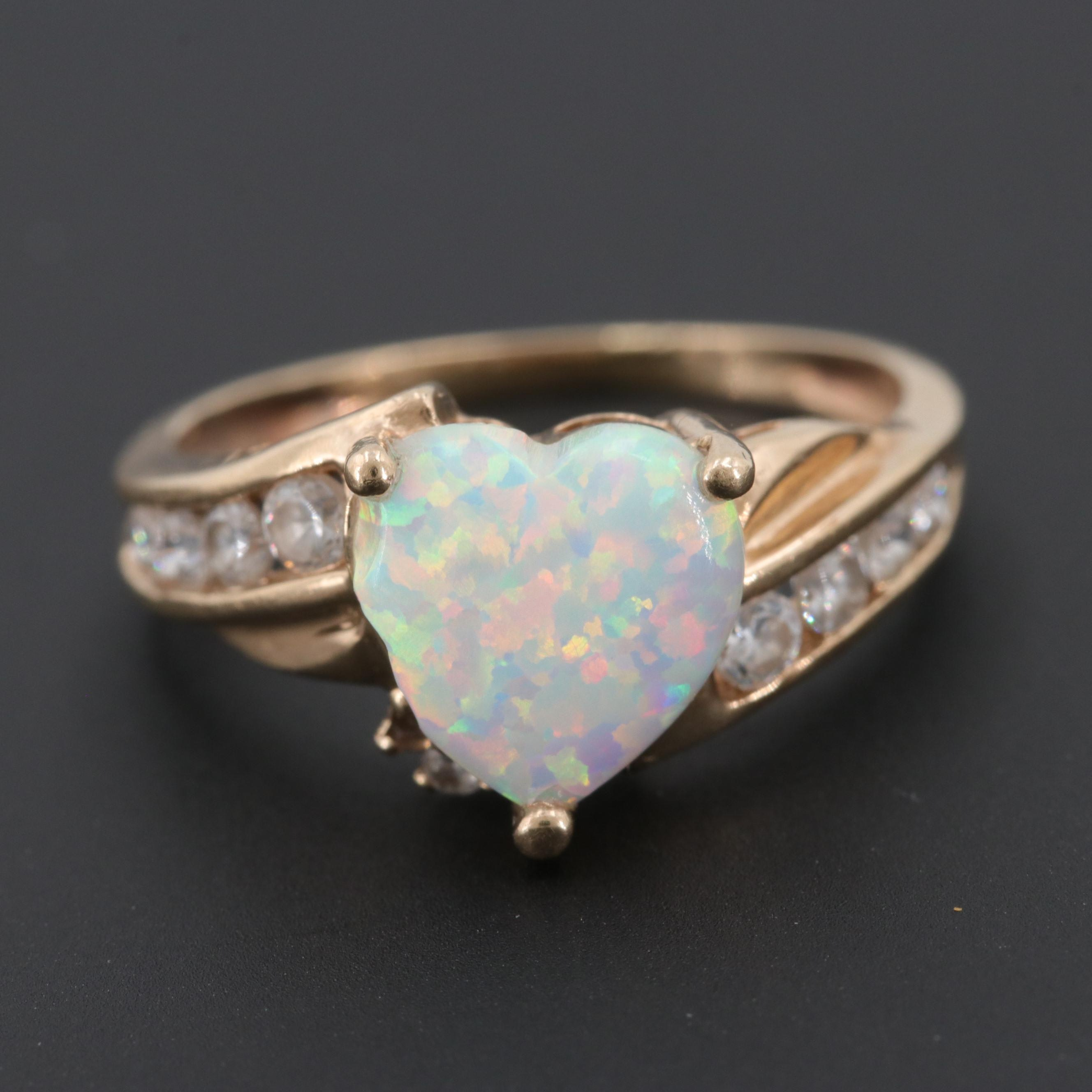 10K Yellow Gold Synthetic Opal and Cubic Zirconia Ring