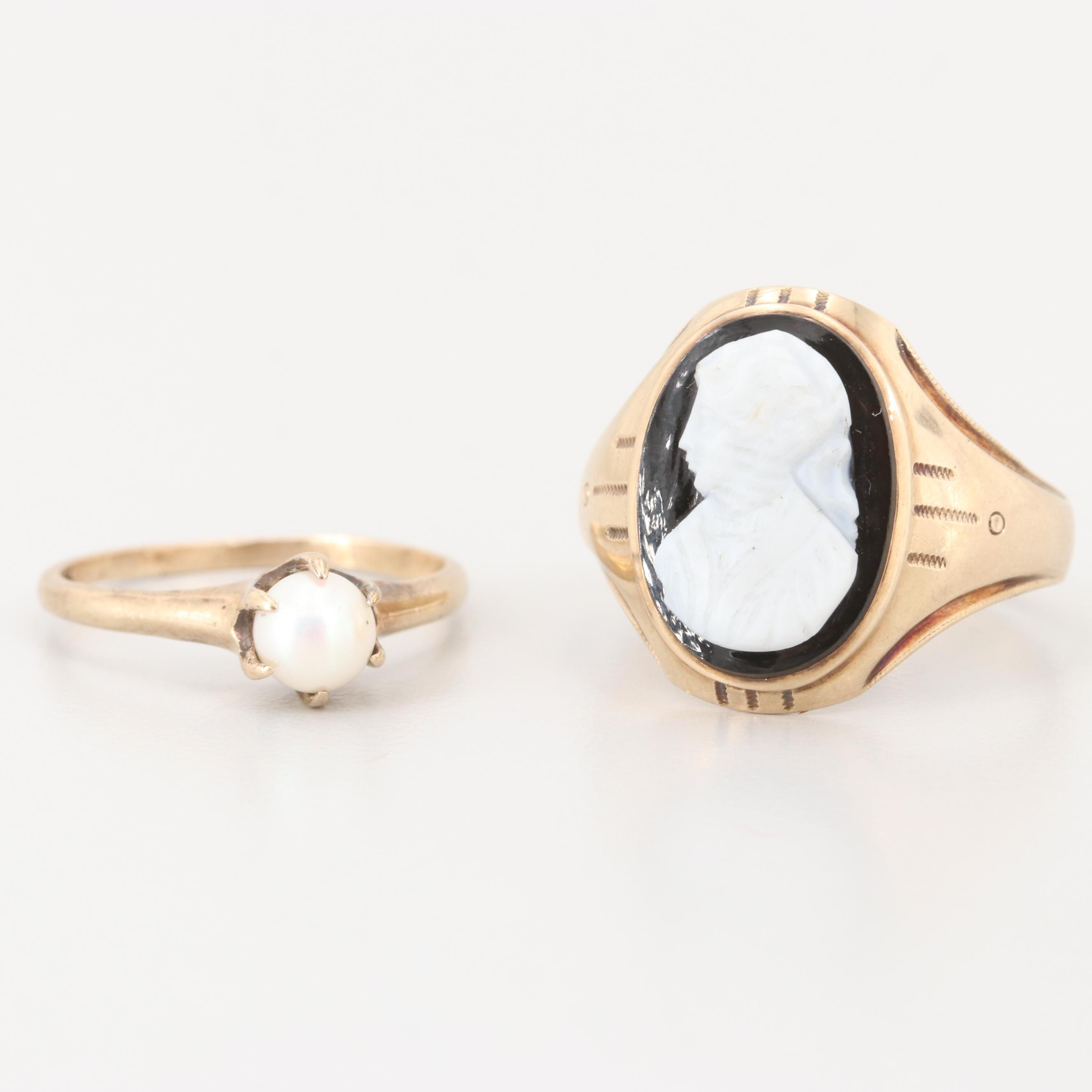 Vintage 10K Yellow Gold Cultured Pearl and Onyx Cameo Rings
