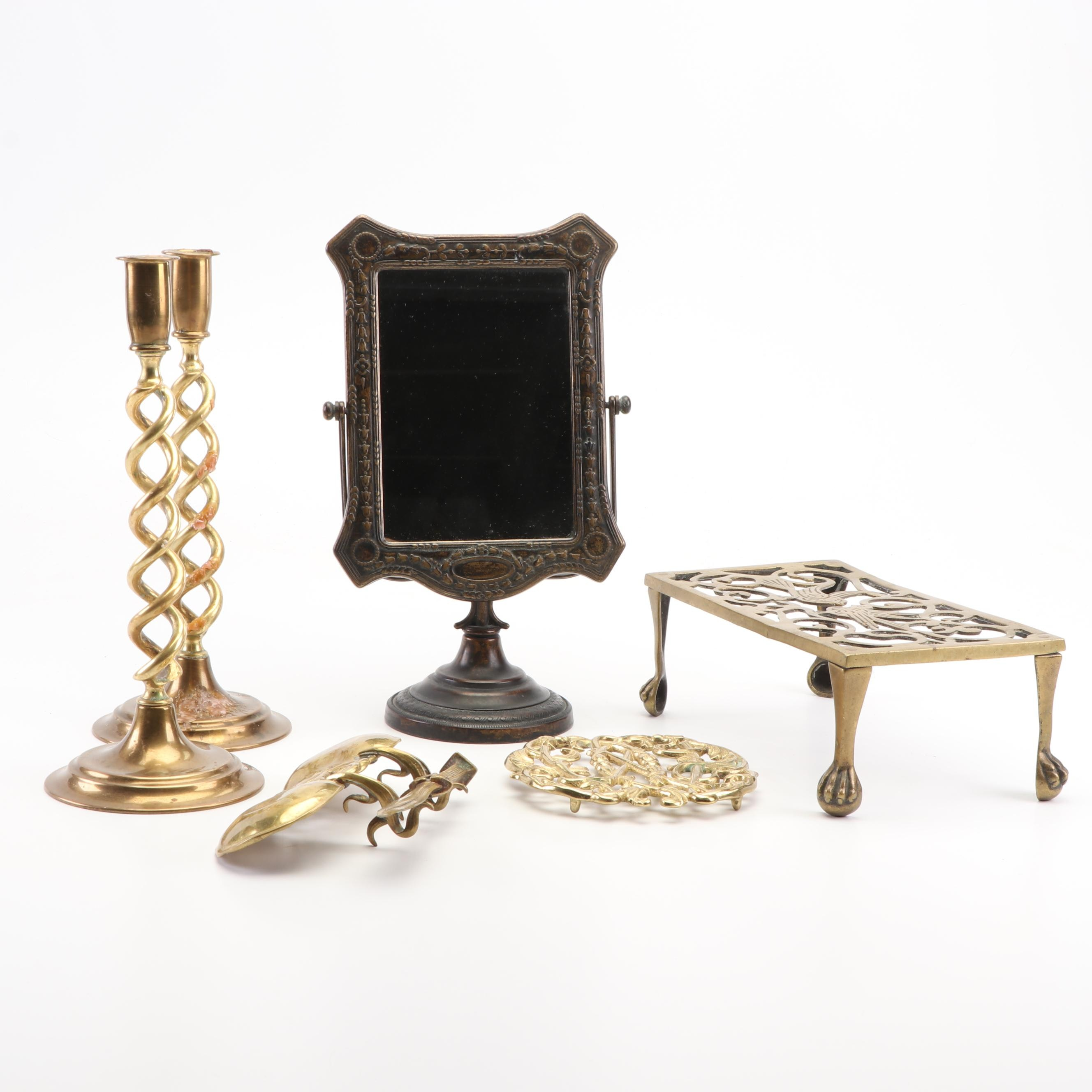 Candle Holders, Letter Opener, Mirror, and Col Williamsburg Cypher Trivet, 1950