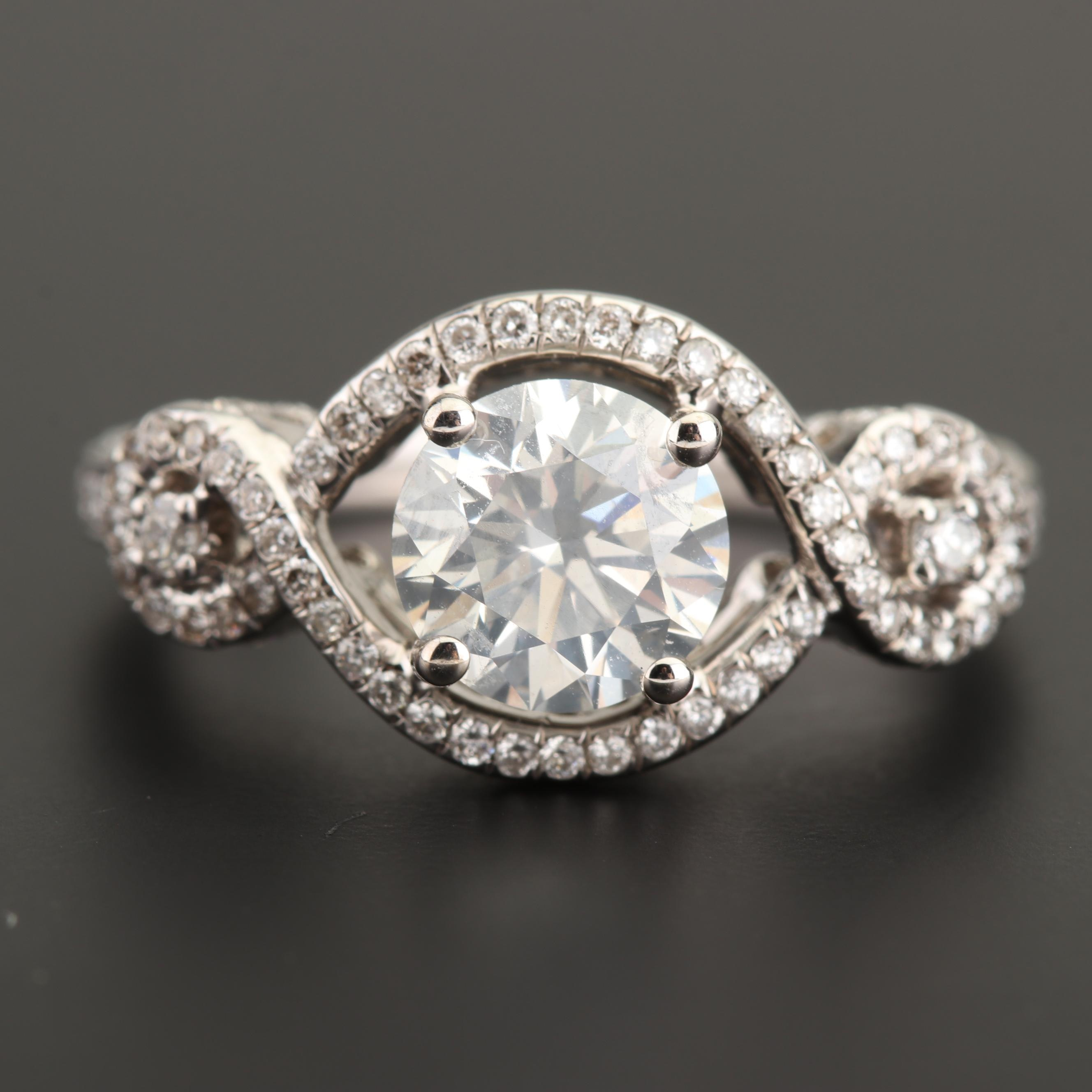 18K White Gold and 2.09 CTW Diamond Ring with GIA Report
