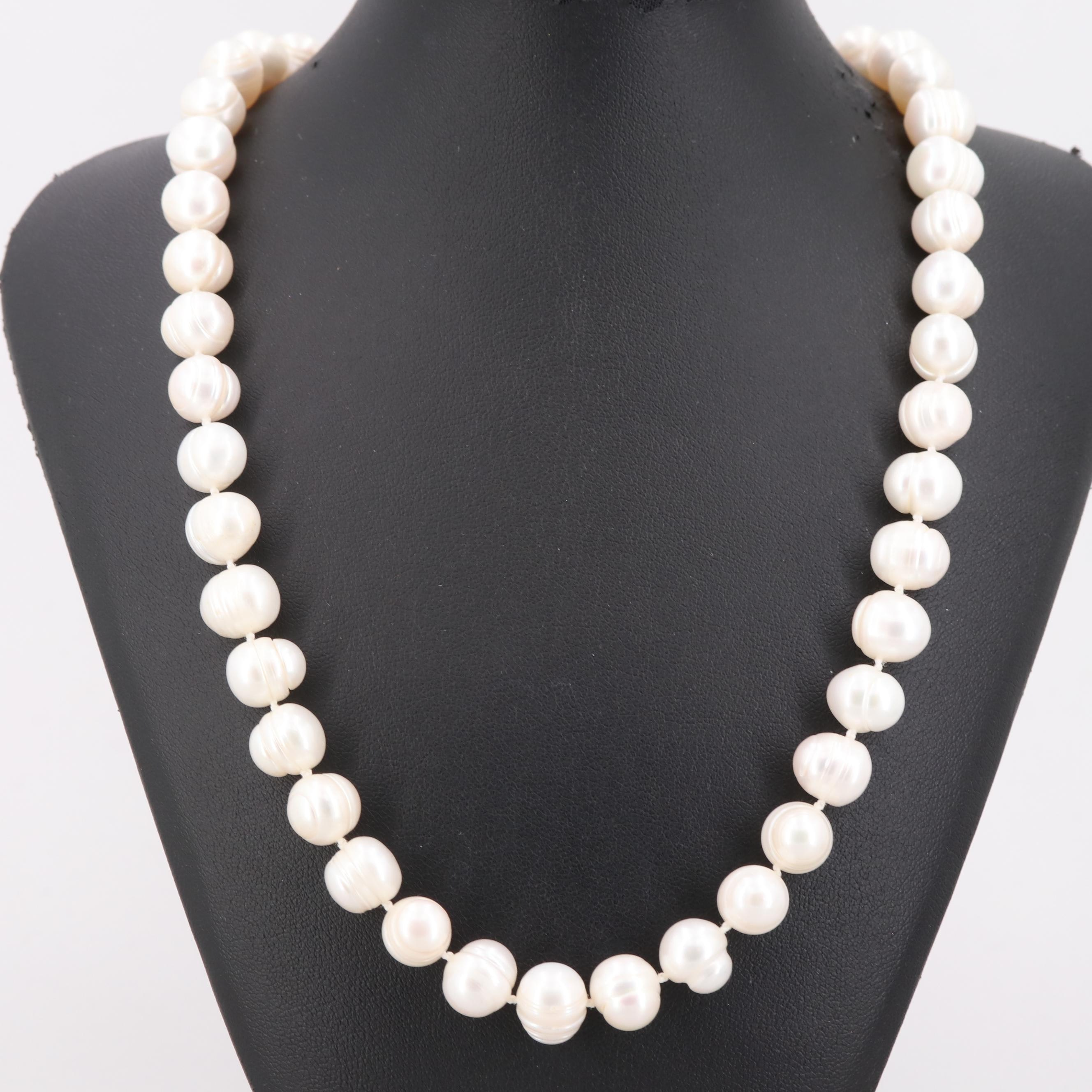 Cultured Pearl Bead Necklace with 14K and 10K Yellow Gold