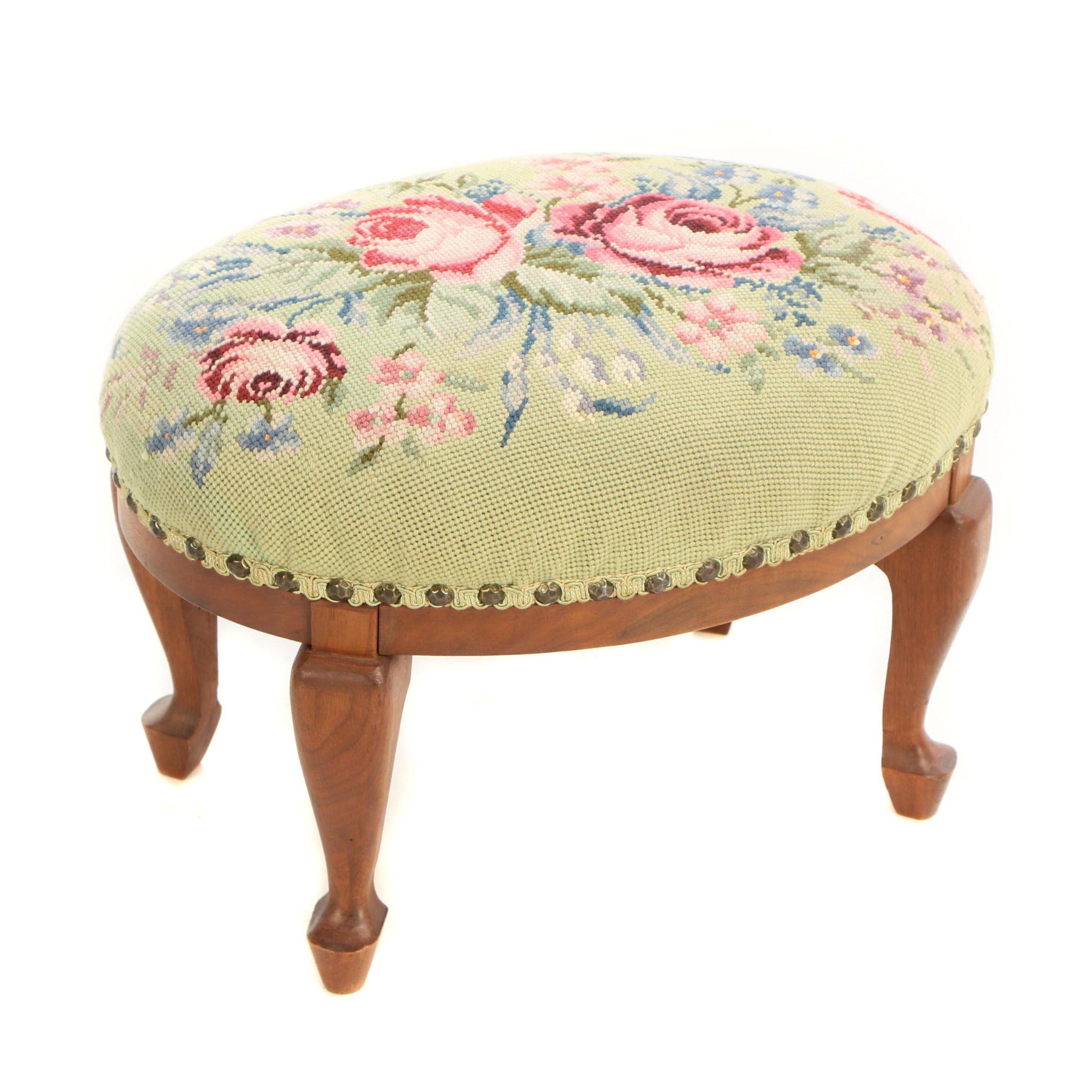 Queen Anne Style Walnut and Floral Needlepoint Footstool, 20th Century