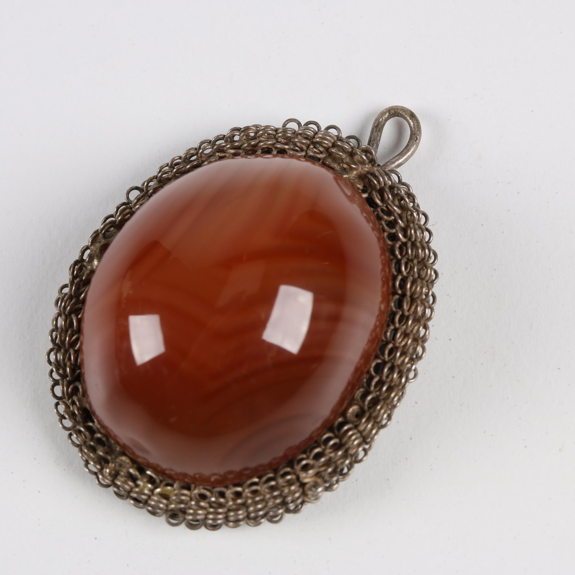 Chinese Metal Filigree Agate Cabochon Pendant, Qing Dynasty