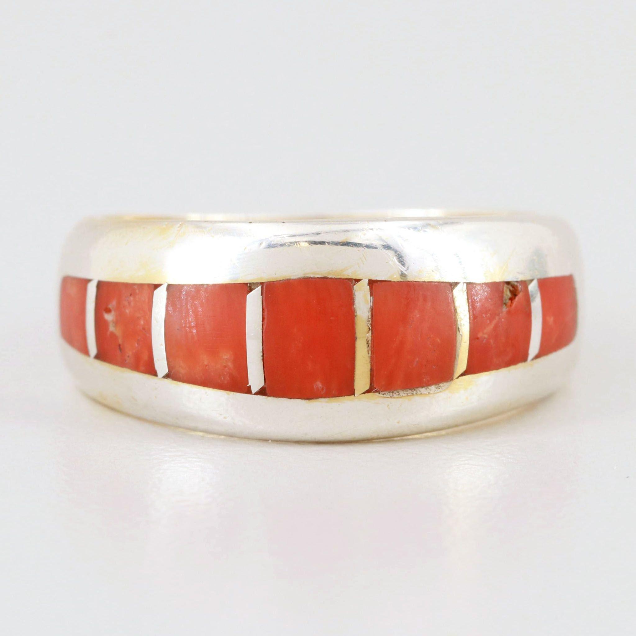 Sterling Silver Coral Ring with 14K Yellow Gold Insert