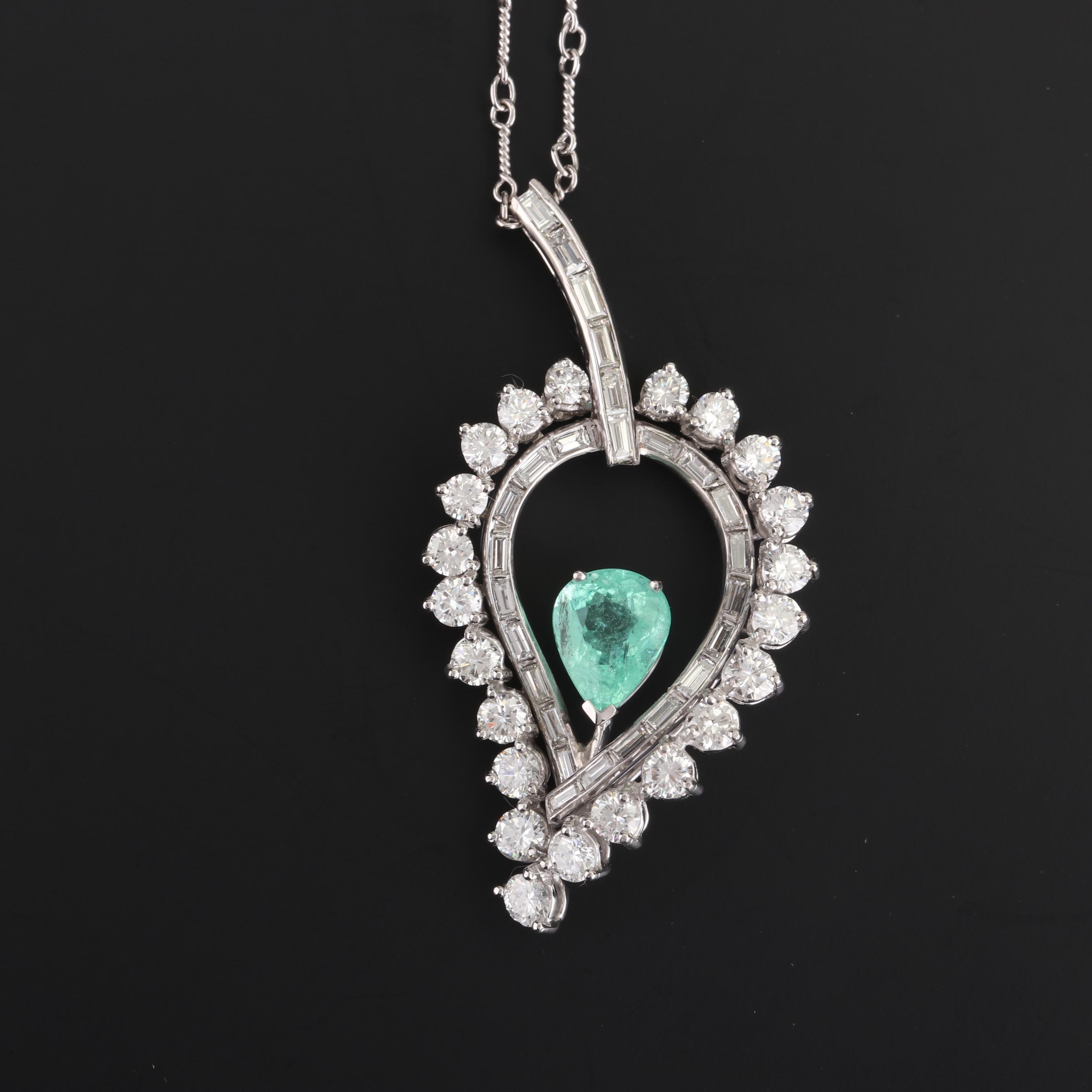 Platinum 2.42 CT Paraiba-Type Tourmaline and 4.10 CTW Diamond Necklace with GIA