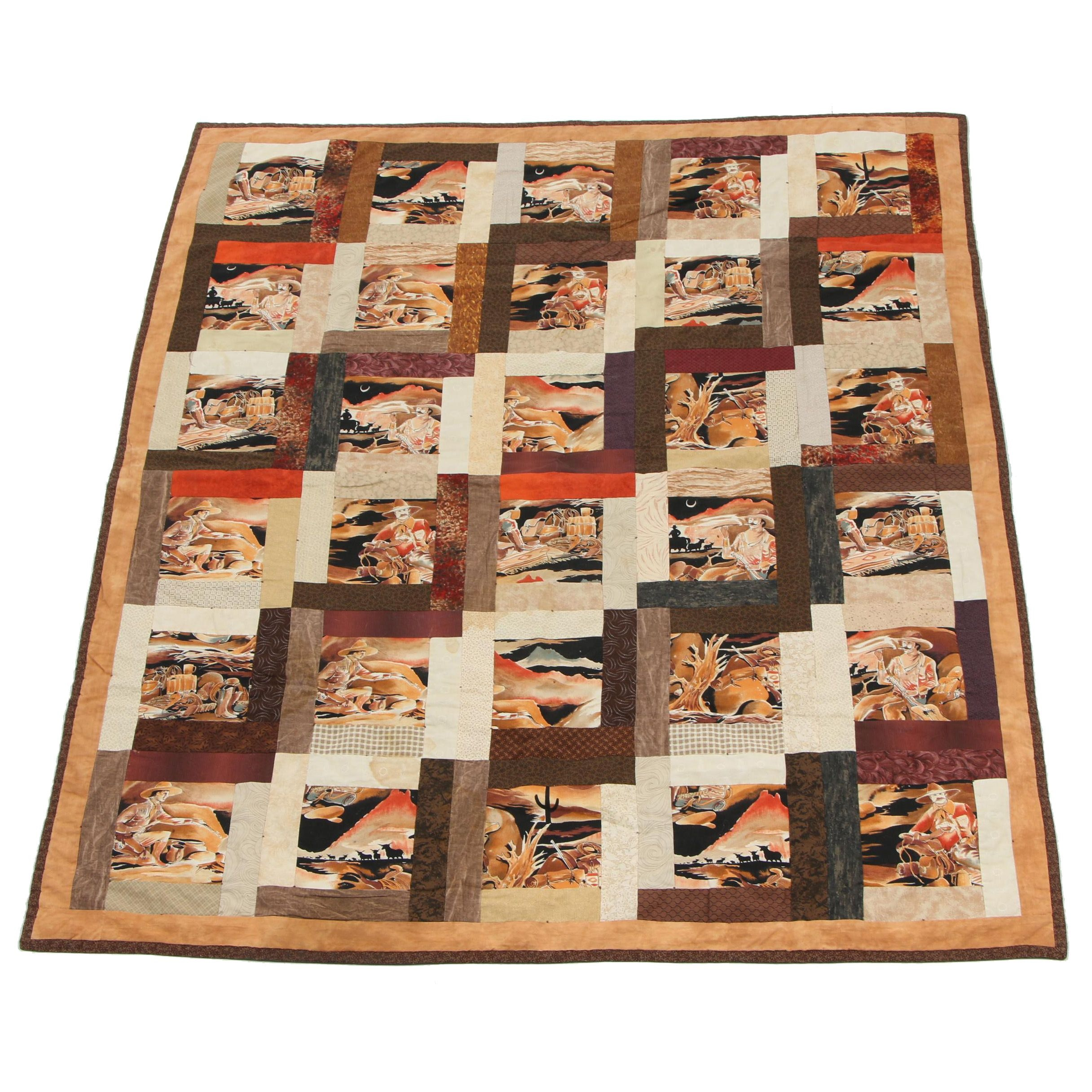 Handmade Western Themed Quilted Patchwork Coverlet