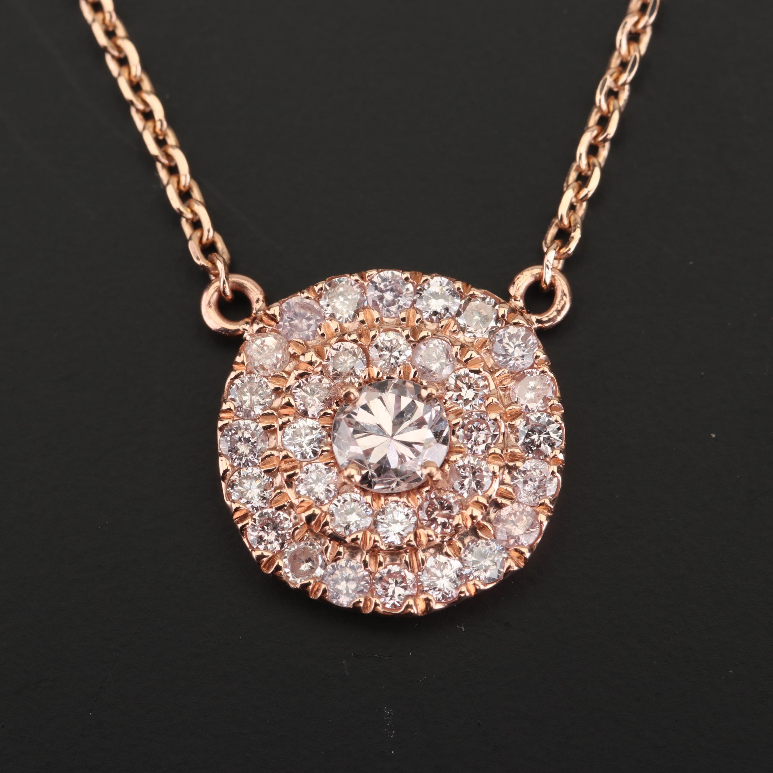 14K Rose Gold and Fancy Orangy Pink Diamond Pendant Necklace with GIA Report