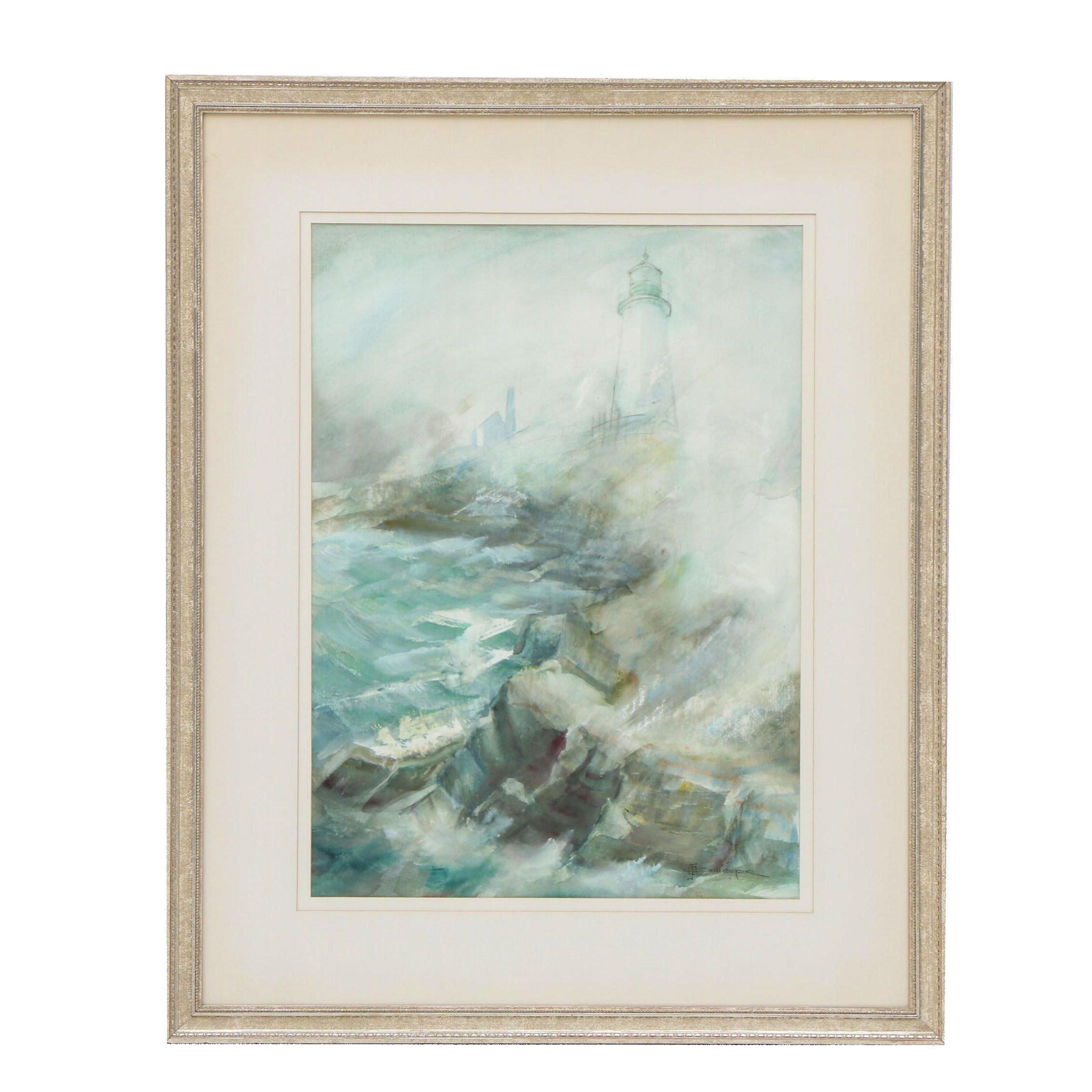 "Jimmie Otten Gillespie Watercolor Painting ""Fog at Pemaquid"""