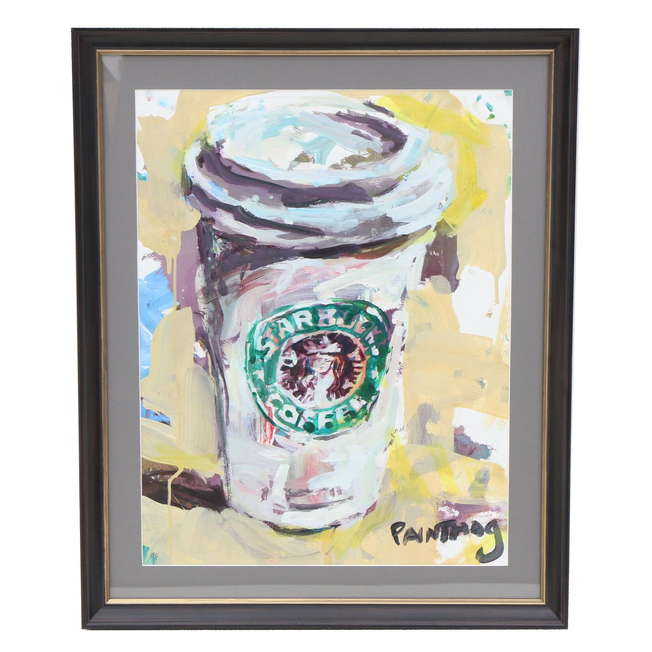 Robert Joyner Acrylic Painting of Starbucks Coffee Cup