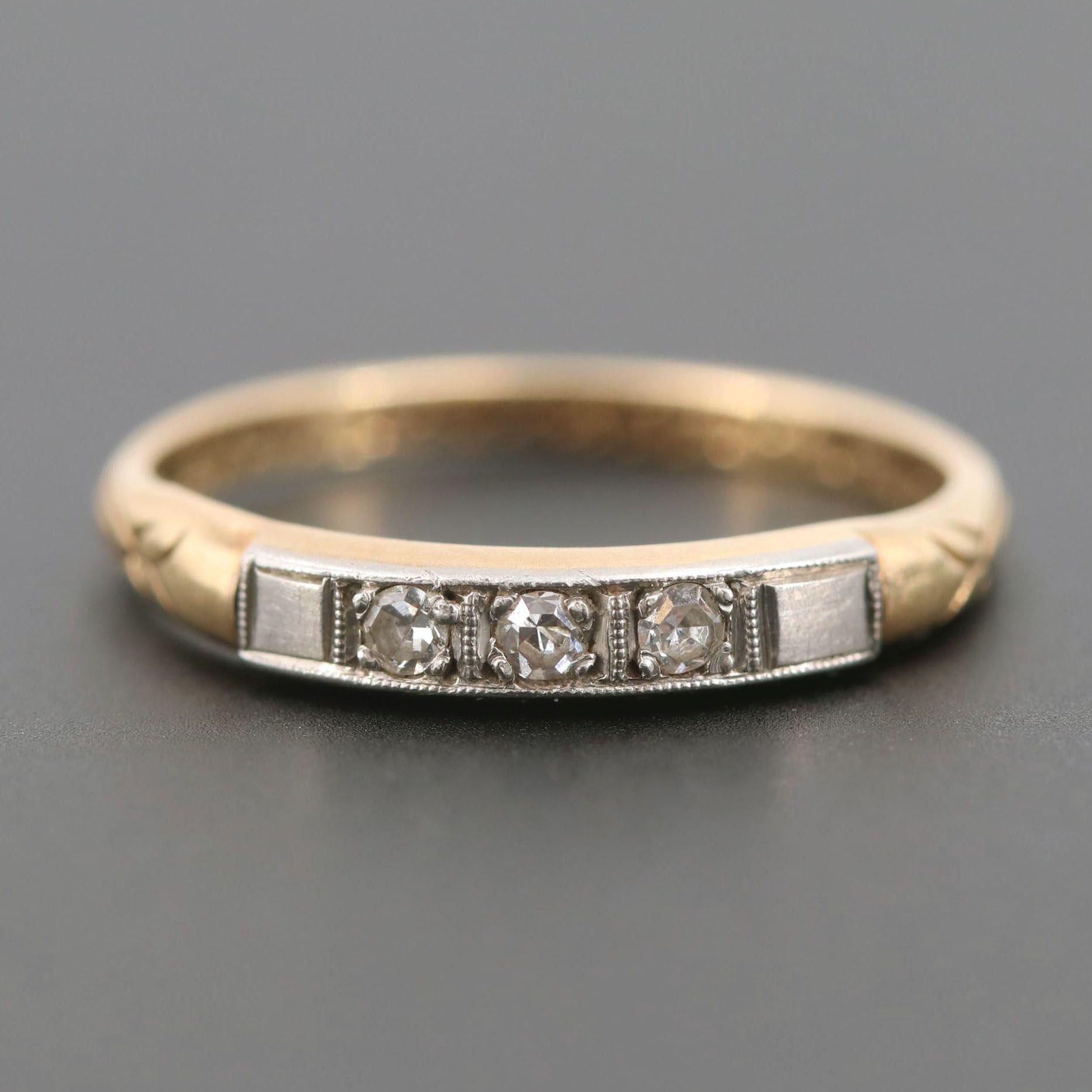 Vintage 14K Yellow Gold and Palladium Diamond Ring
