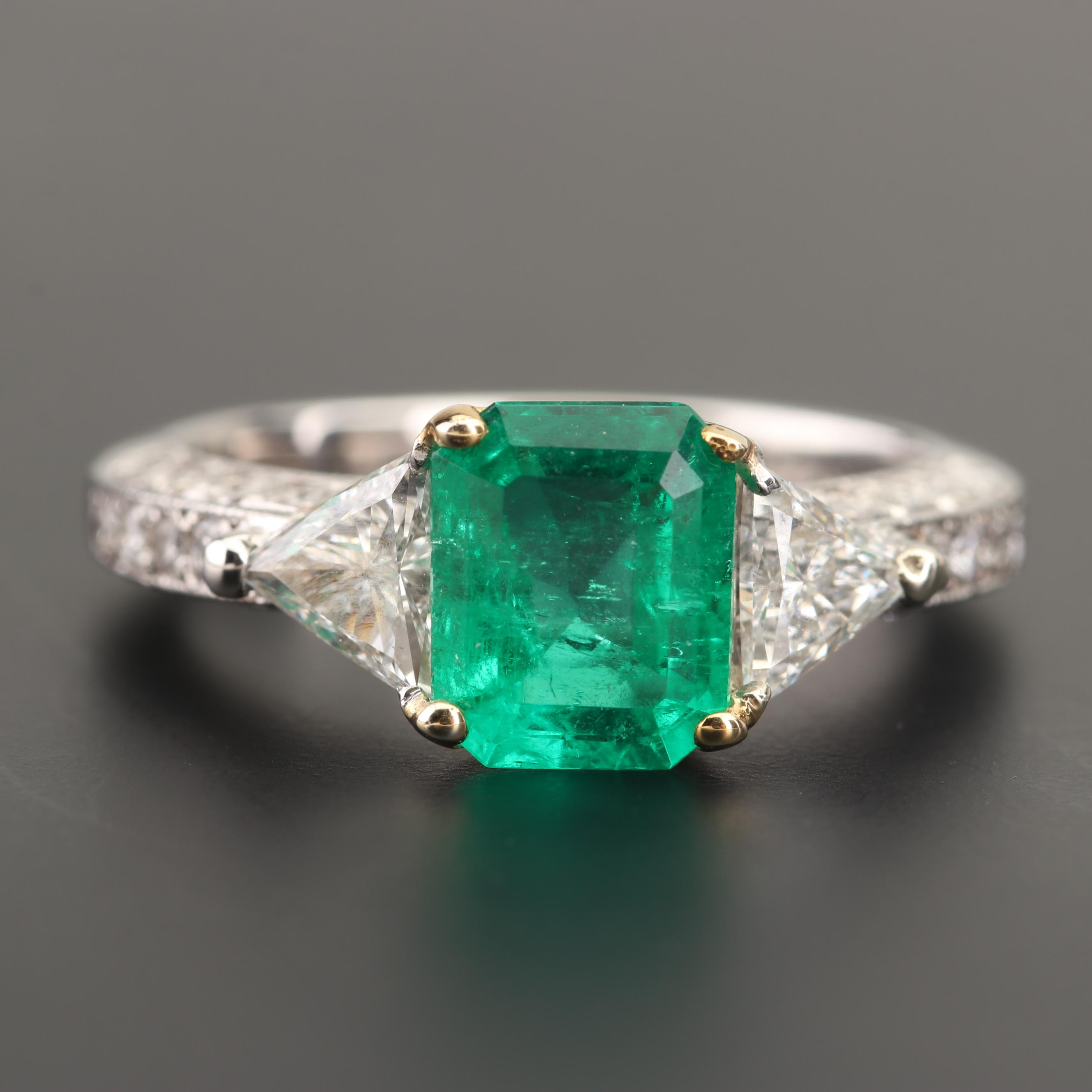 Platinum and 18K Yellow Gold 1.51 CT Emerald and Diamond Ring
