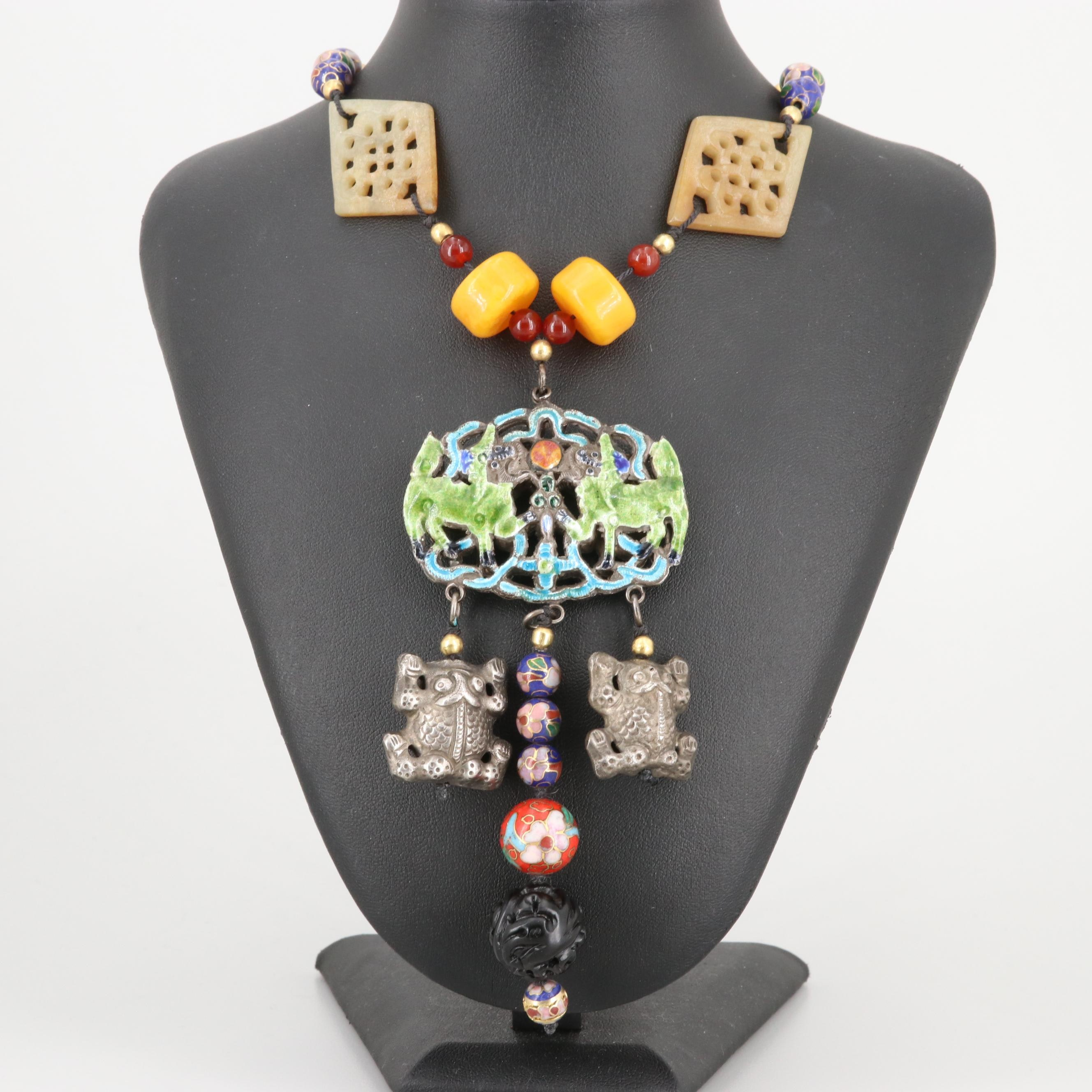 Asian Qilin Necklace with Carnelian, Serpentine and Cloisonné Beads