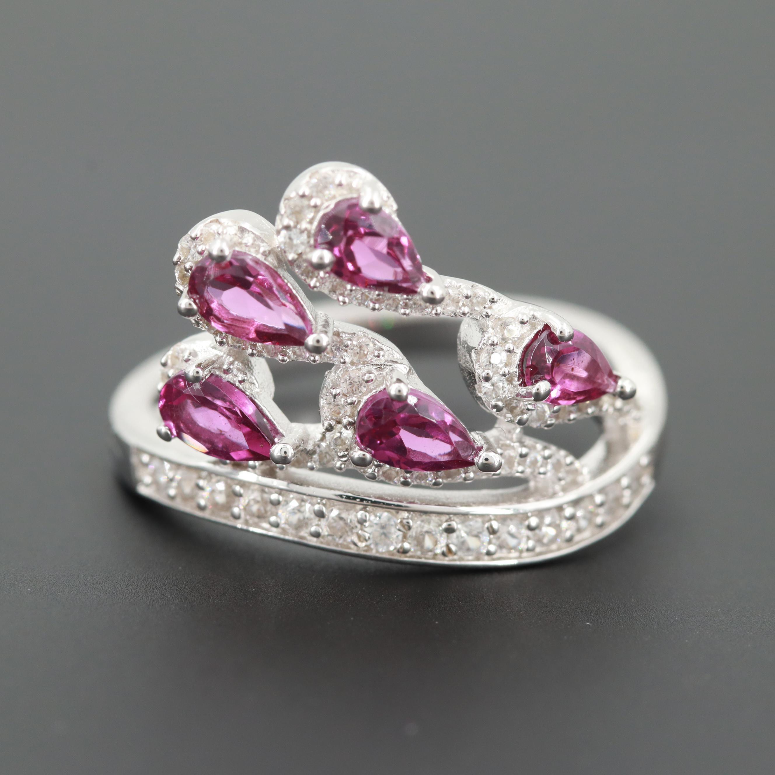Sterling Silver Rhodolite Garnet and Zircon Ring