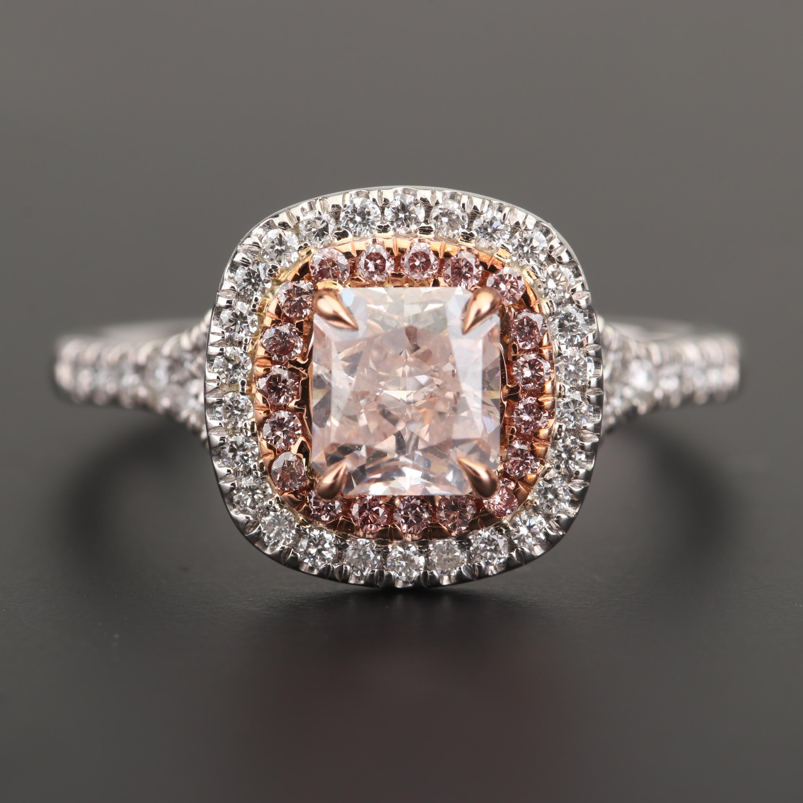 Platinum Fancy Light Orangy Pink Diamond and Diamond Ring with GIA Report