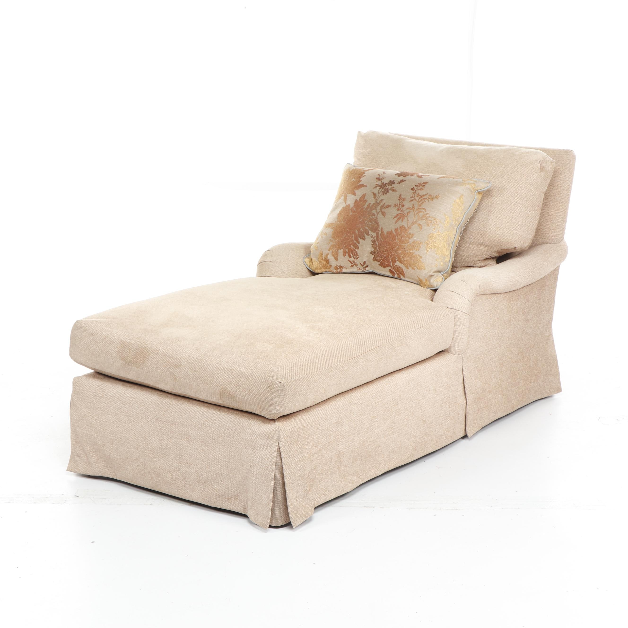 Contemporary Beige Chaise Lounge with Throw Pillow