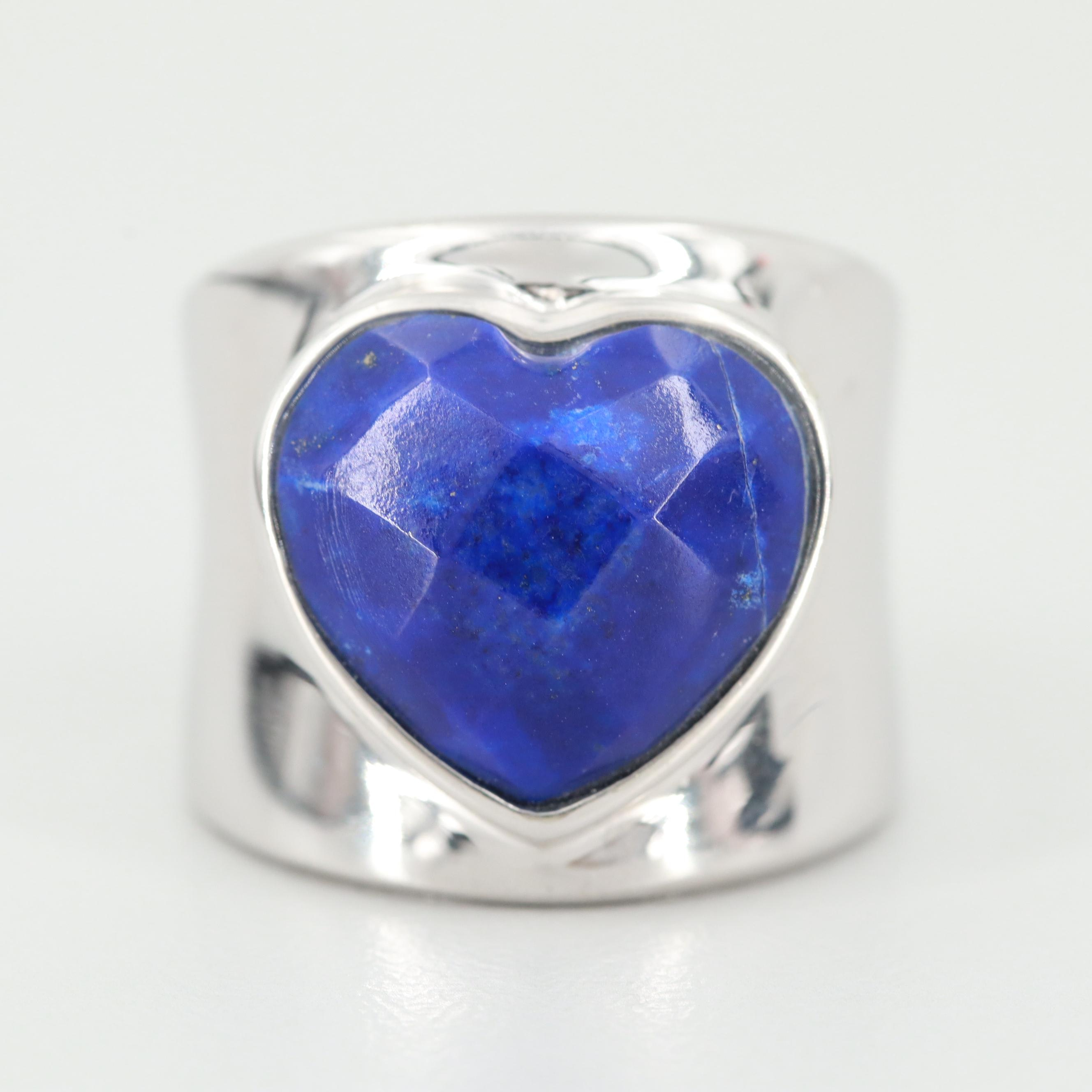 Sterling Silver Lapis Lazuli Heart Shaped Ring