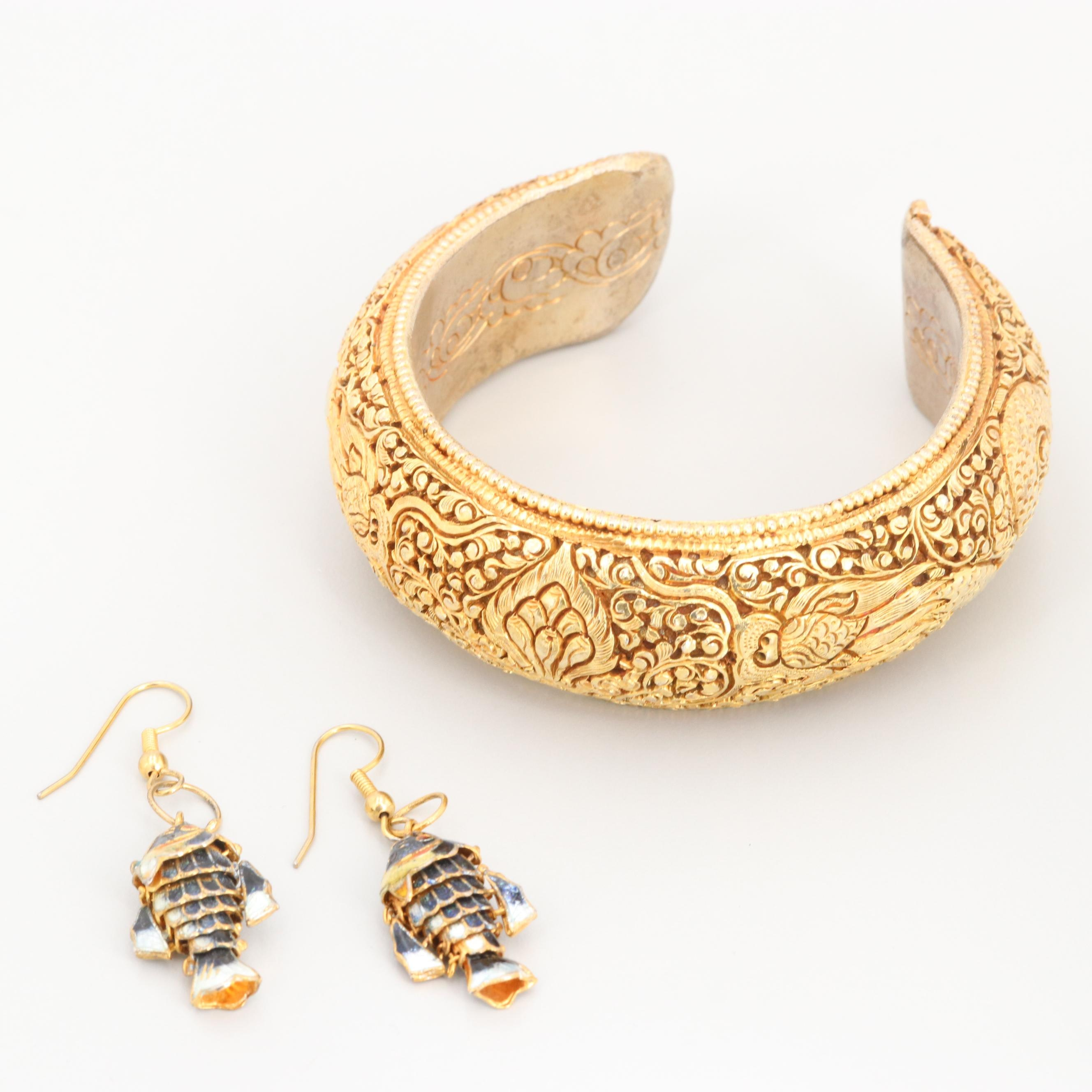 Chinese Enamel Articulated Fish Earrings and Tibetan Gold Tone Cuff Bracelet