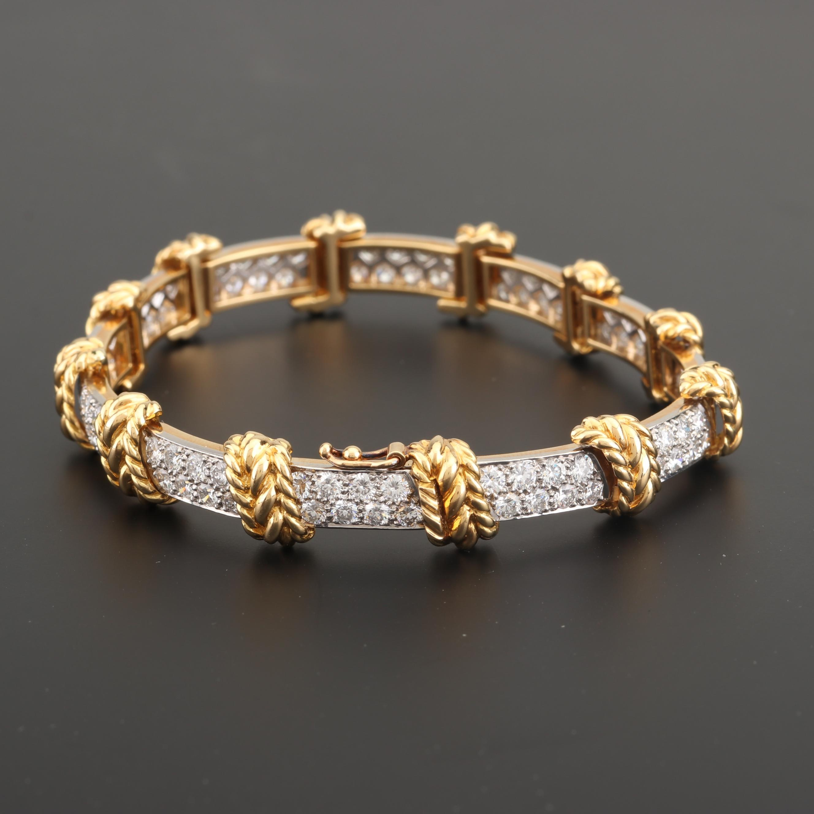 Tiffany & Co. Platinum and 18K Yellow Gold 7.00 CTW Diamond Bracelet