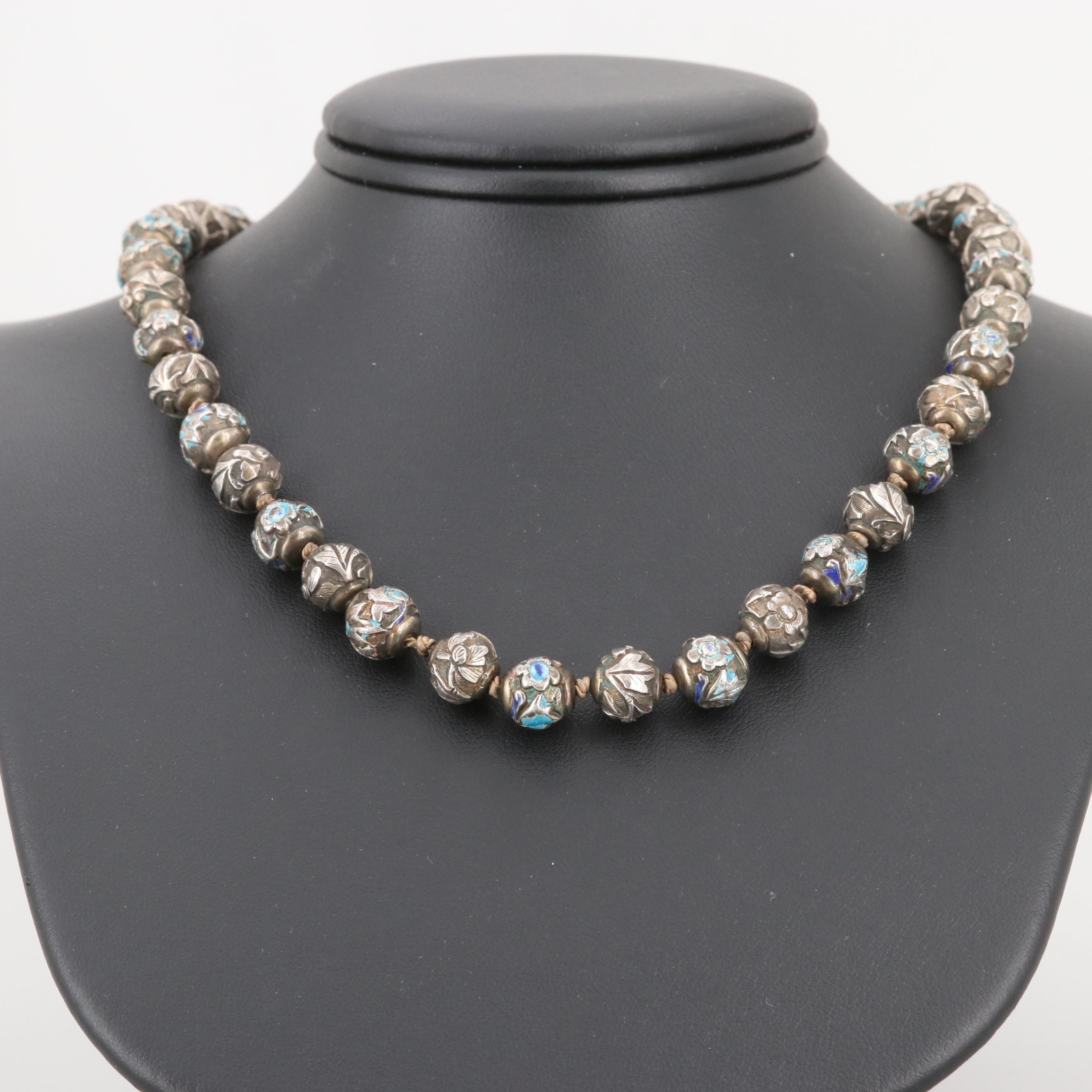 Vintage Chinese 800 Silver Beaded Necklace with Enamel Accents