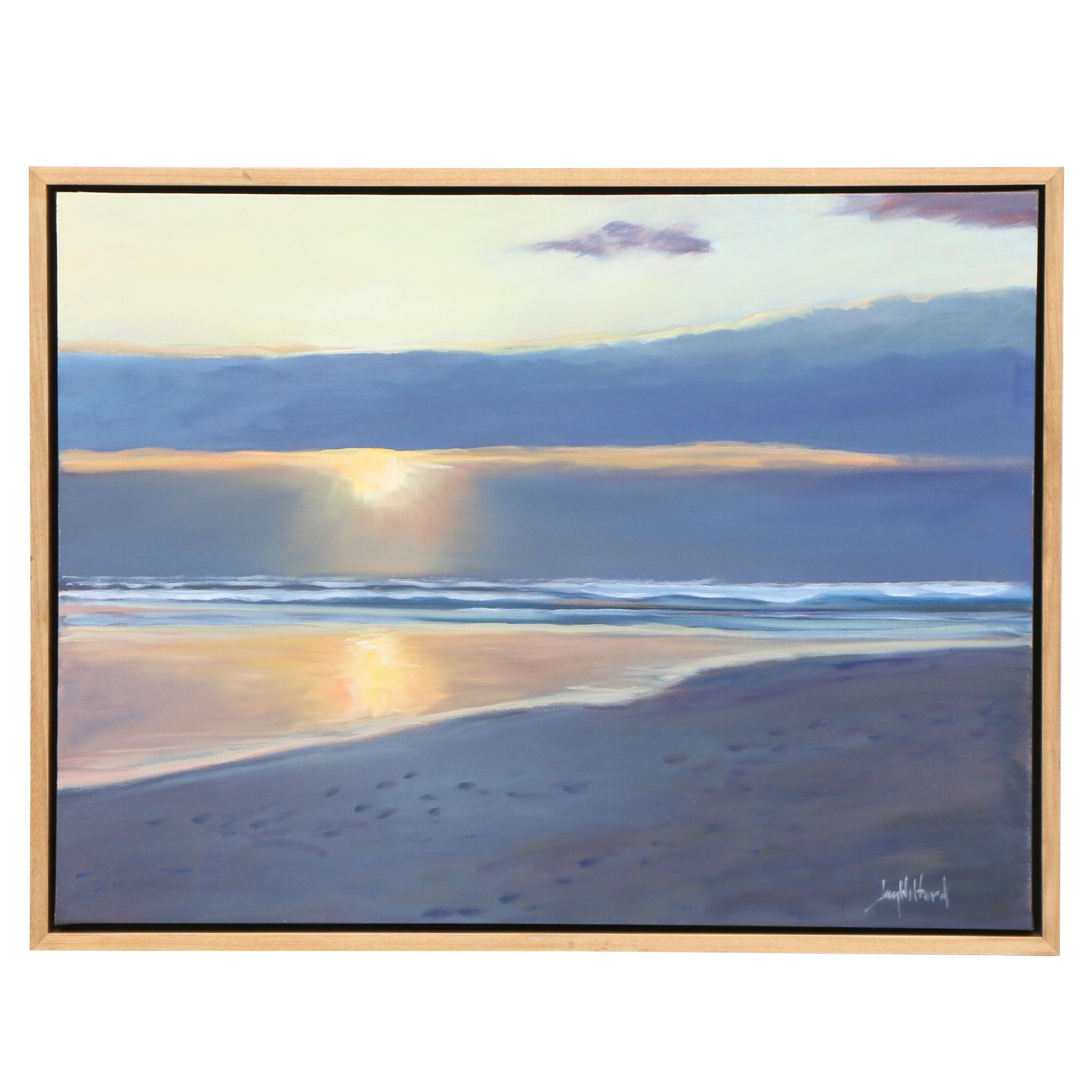 "Jay Wilford Oil Painting ""Ocean Sunset"""