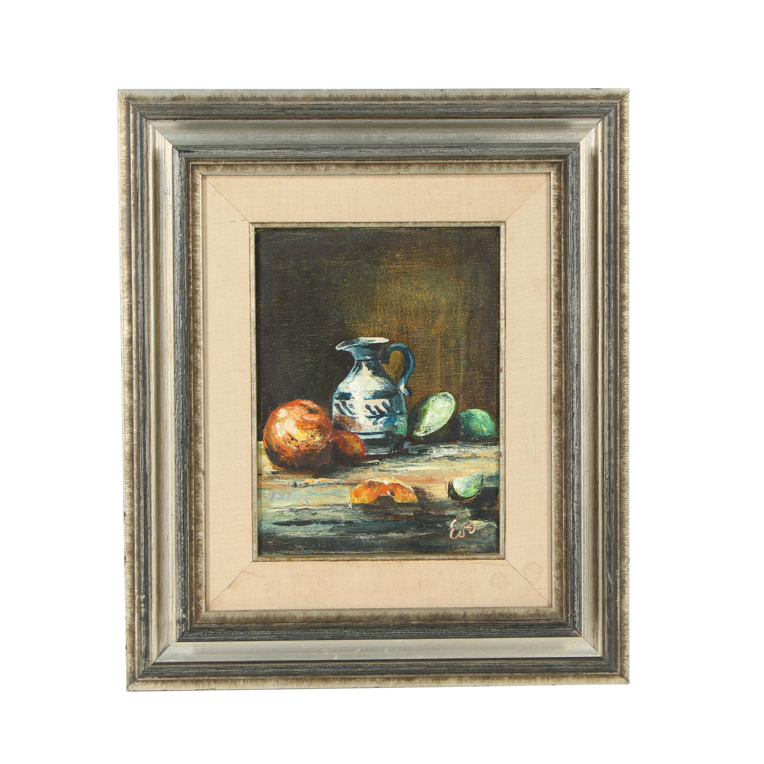 "Late 20th Century Oil Painting ""Grandma's Creamer"""