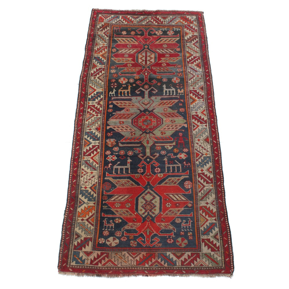 Hand-Knotted Caucasian Kazak Pictorial Long Rug, circa 1890