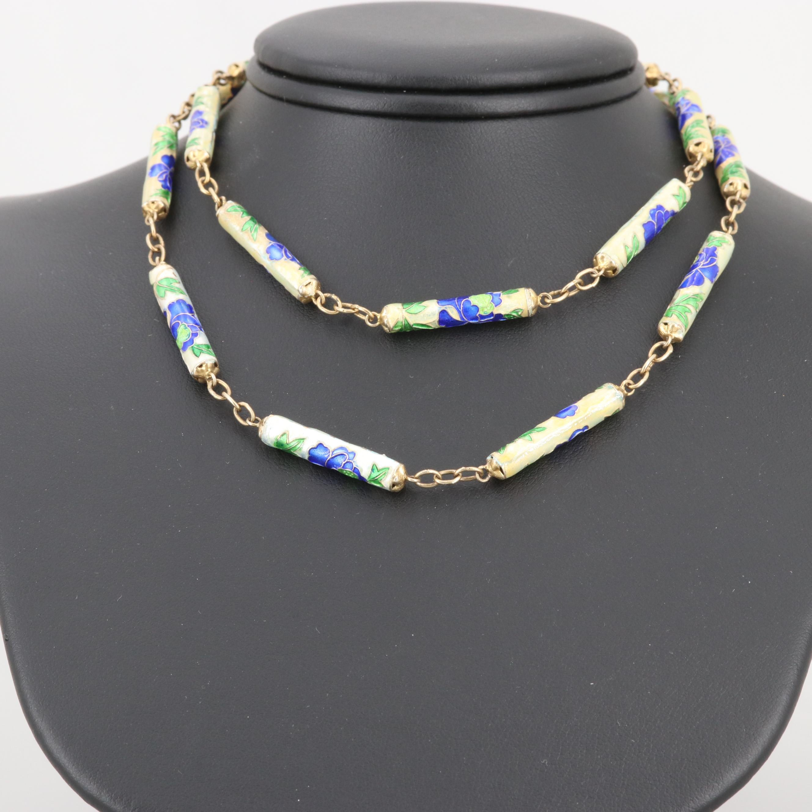 Chinese Sterling Silver Cloisonné Enamel Beaded Necklace